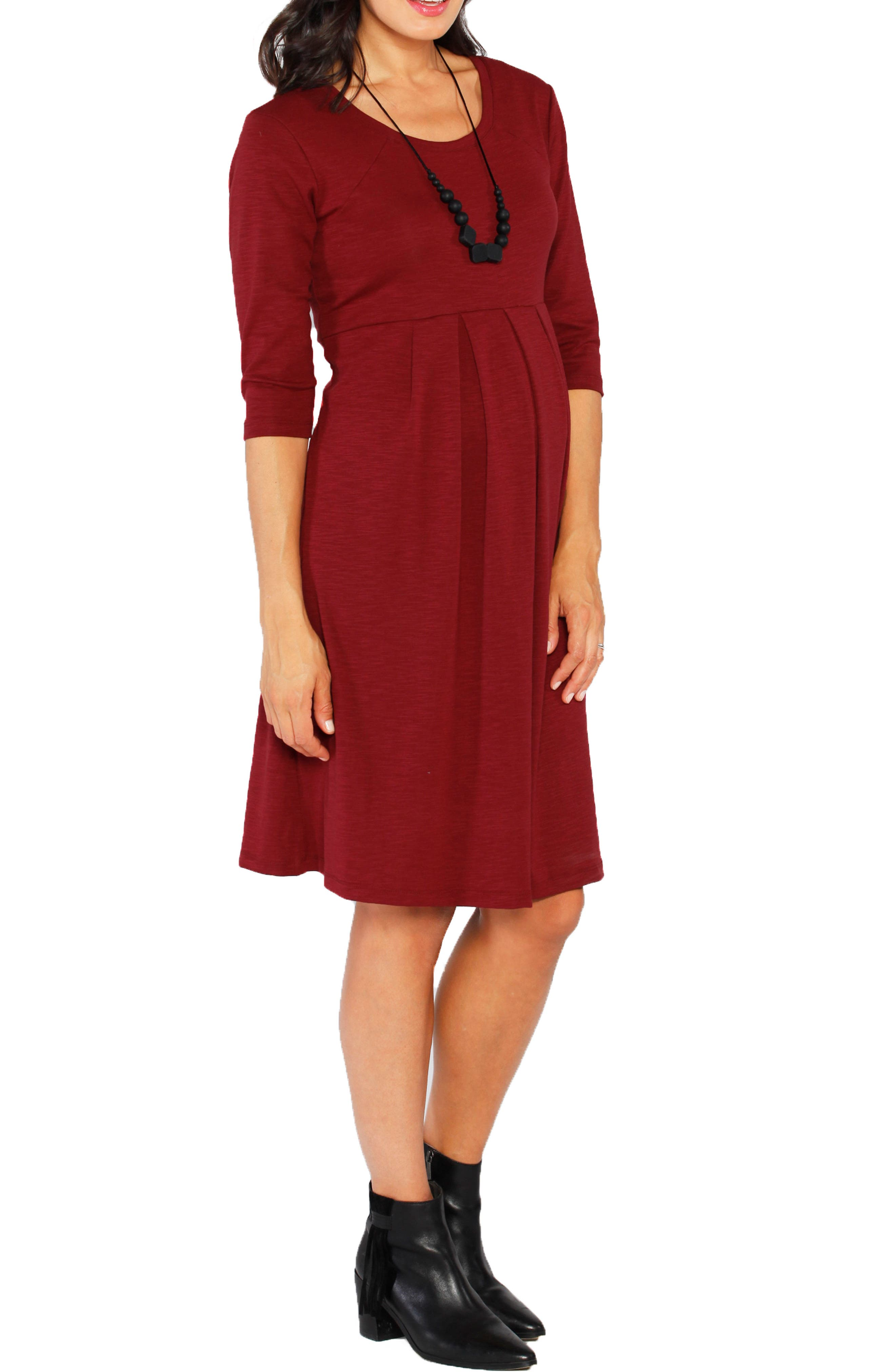 Stretch Jersey Maternity Dress,                             Alternate thumbnail 3, color,                             Earth Red