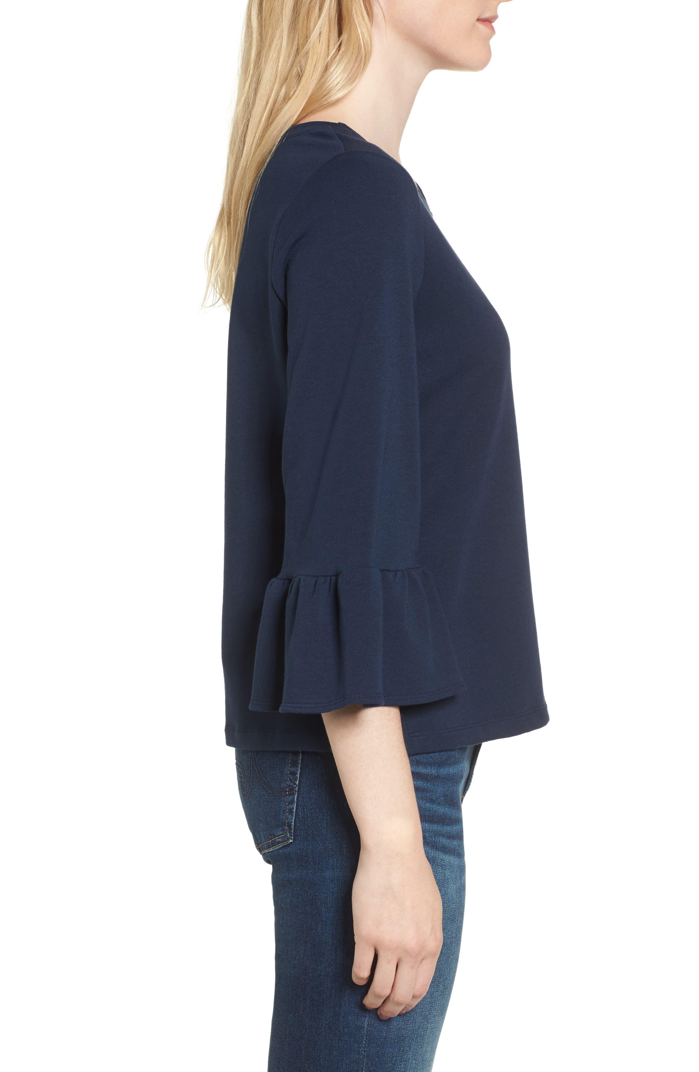 Bernadette Bell Sleeve Sweatshirt,                             Alternate thumbnail 3, color,                             Navy