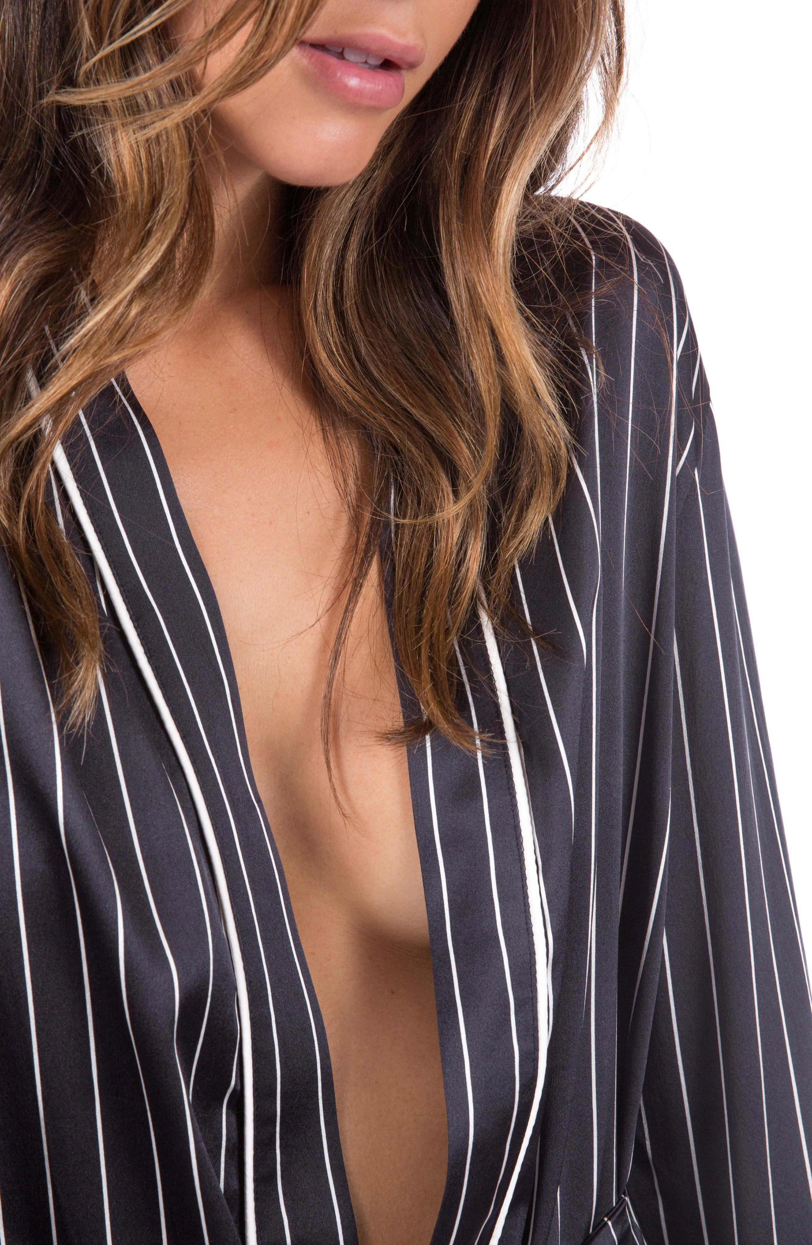 Alternate Image 5  - Ragdoll Pinstripe Silk Pajama Top