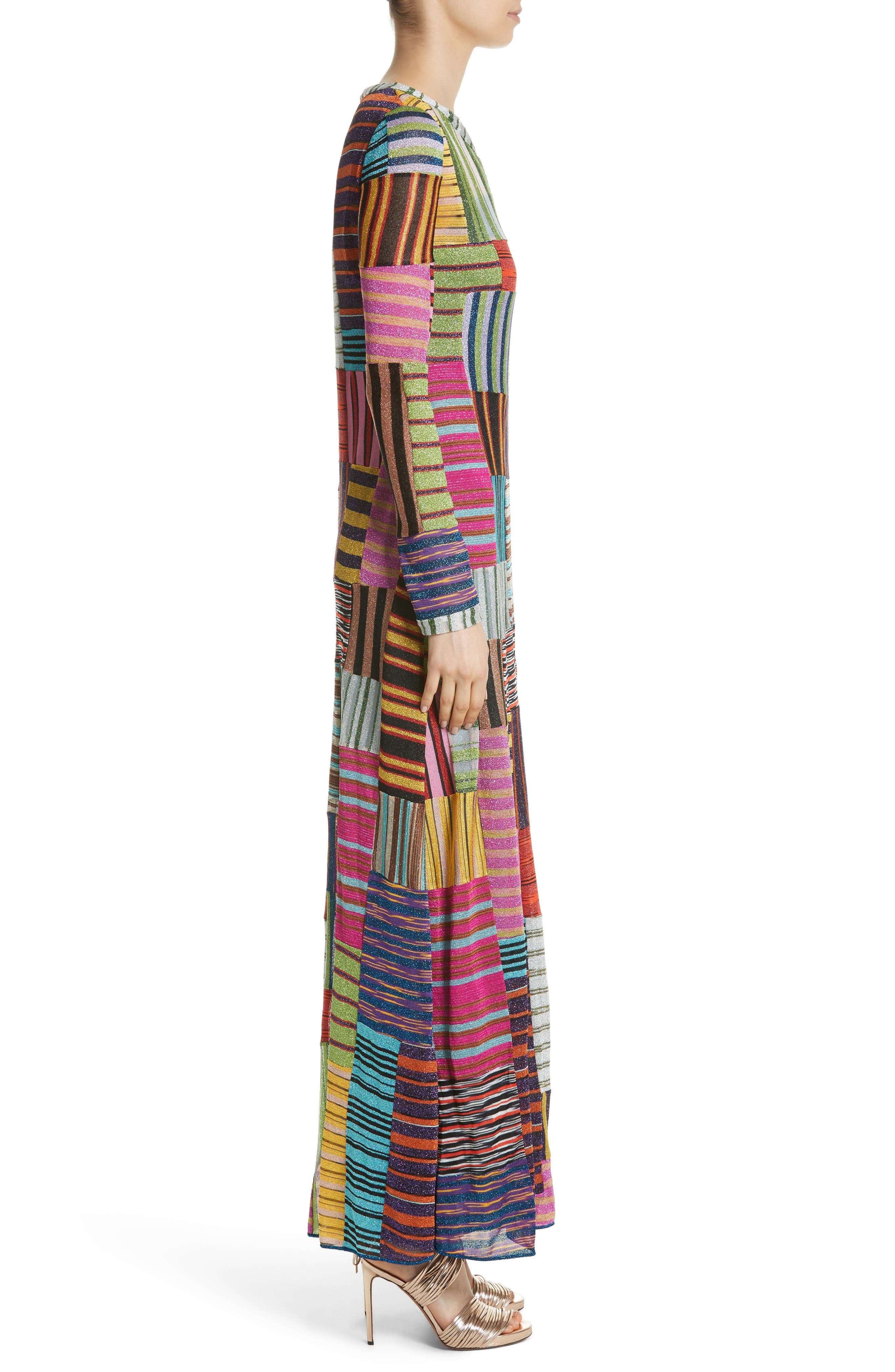 Metallic Patchwork Stripe Knit Maxi Dress,                             Alternate thumbnail 3, color,                             Multi