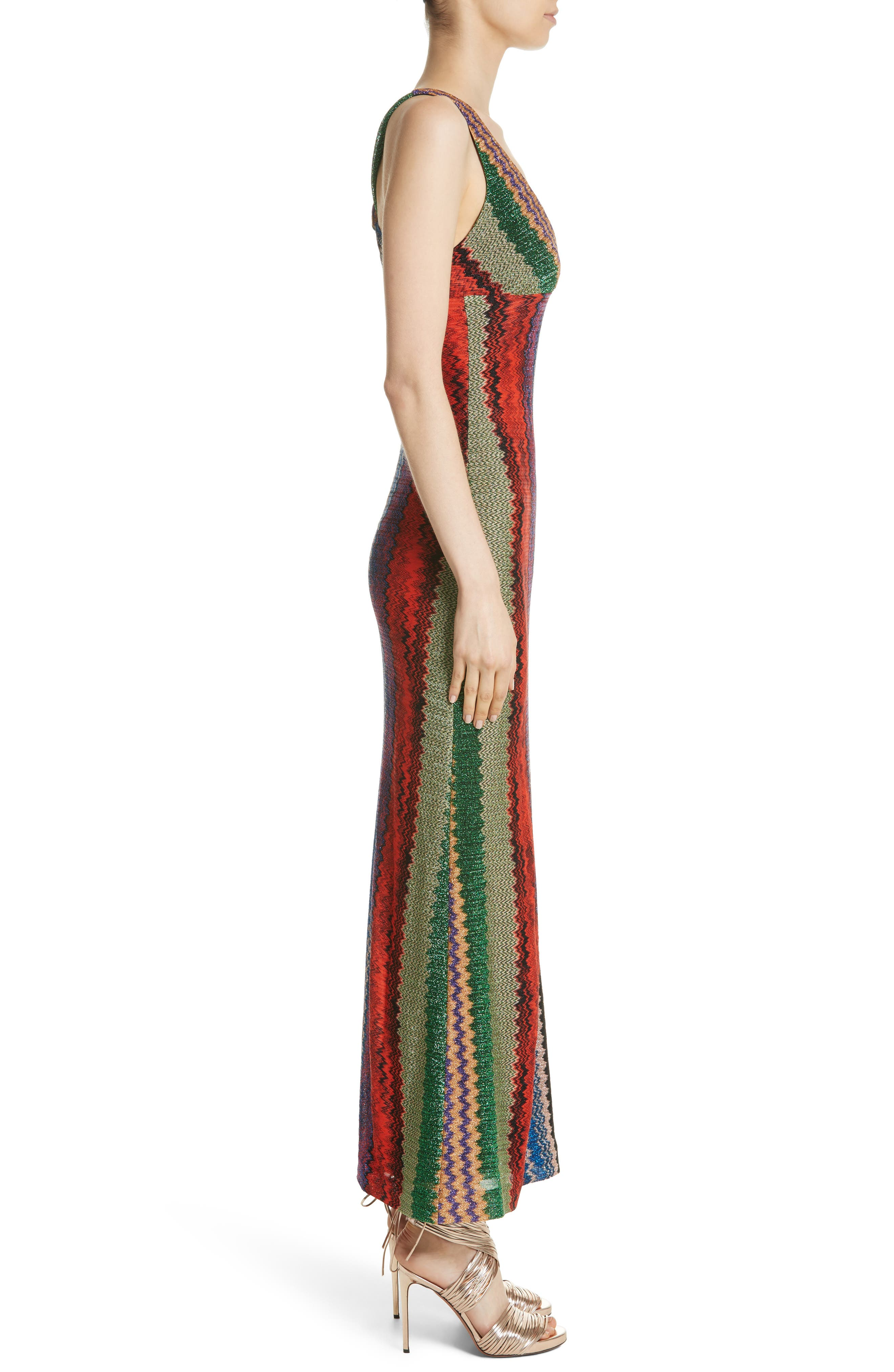 Metallic Zigzag Stripe Knit Gown,                             Alternate thumbnail 3, color,                             Multi