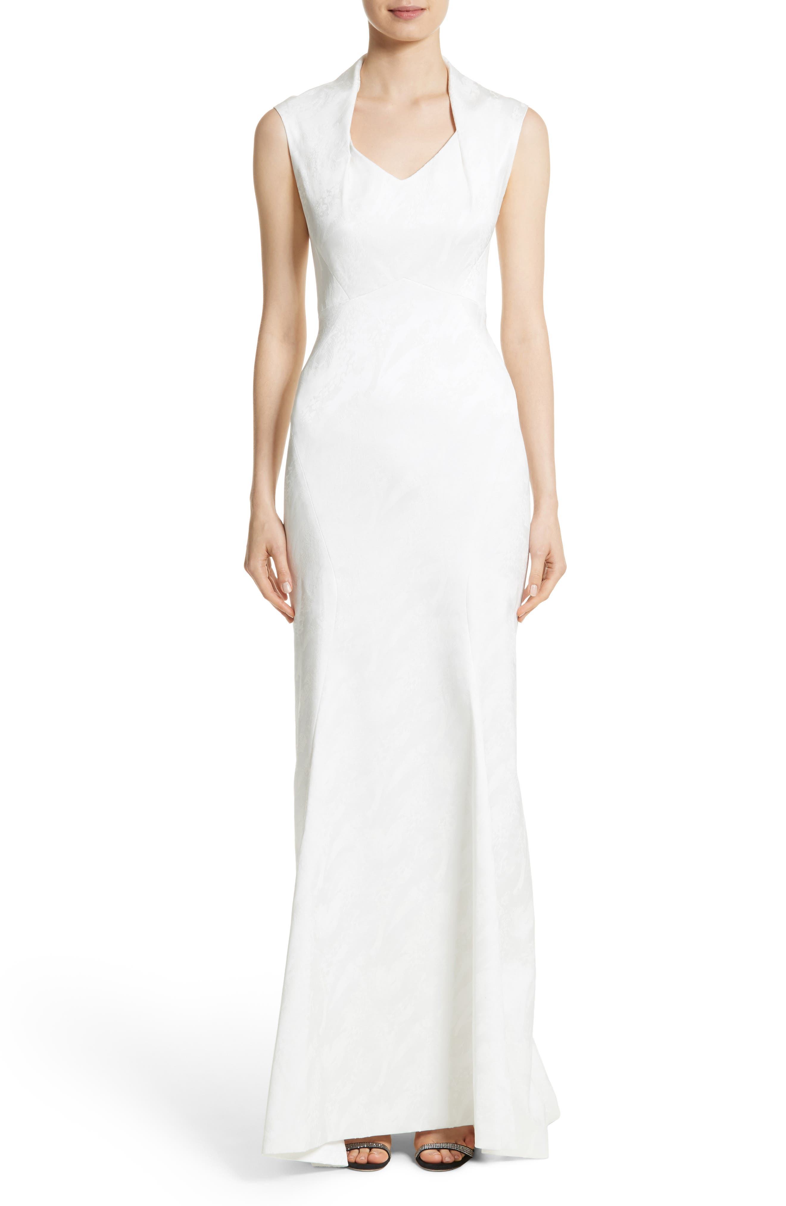 Sleeveless Jacquard Gown,                         Main,                         color, White