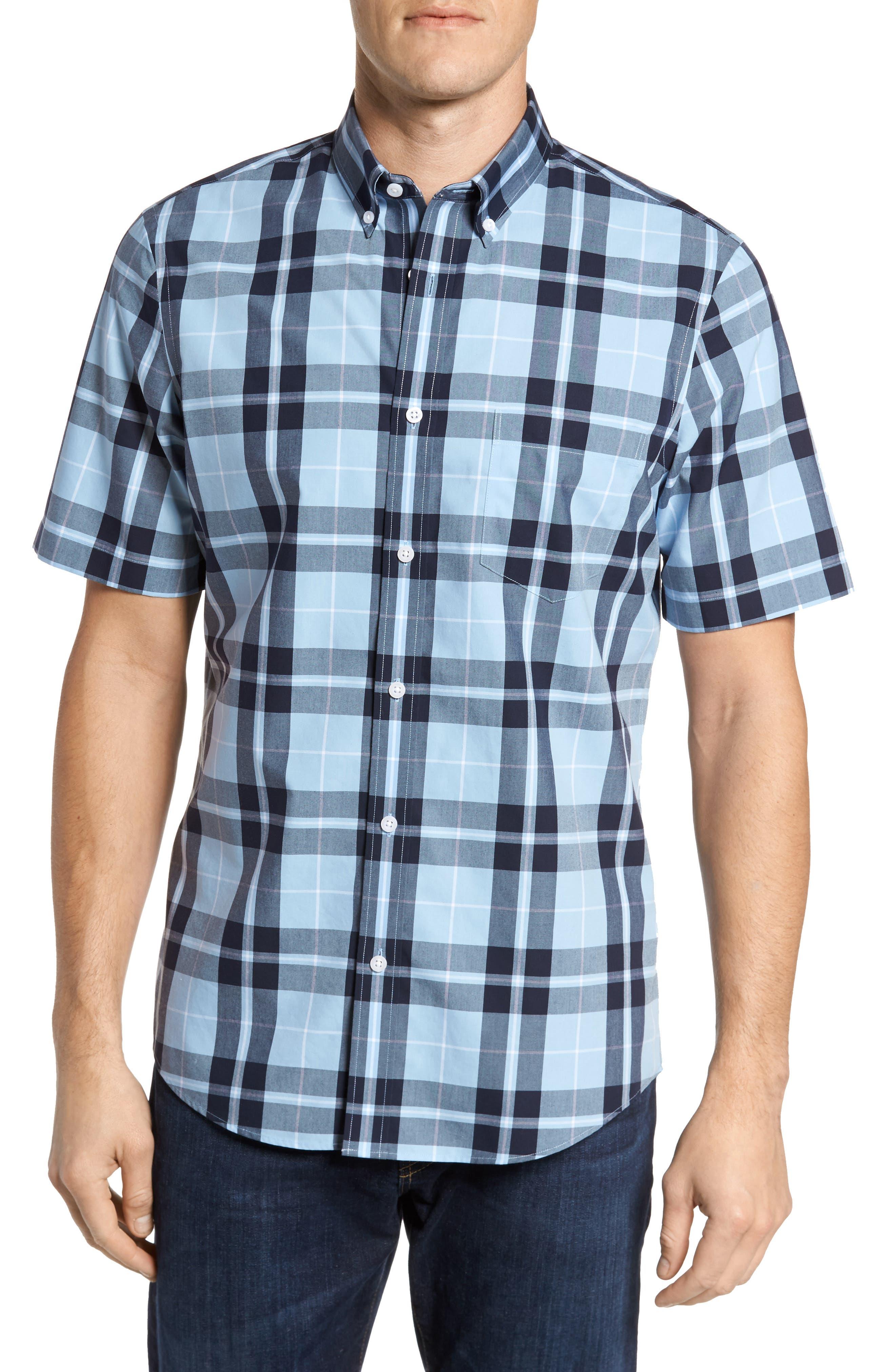 Plaid Sport Shirt,                             Main thumbnail 1, color,                             Blue Heather Large Plaid