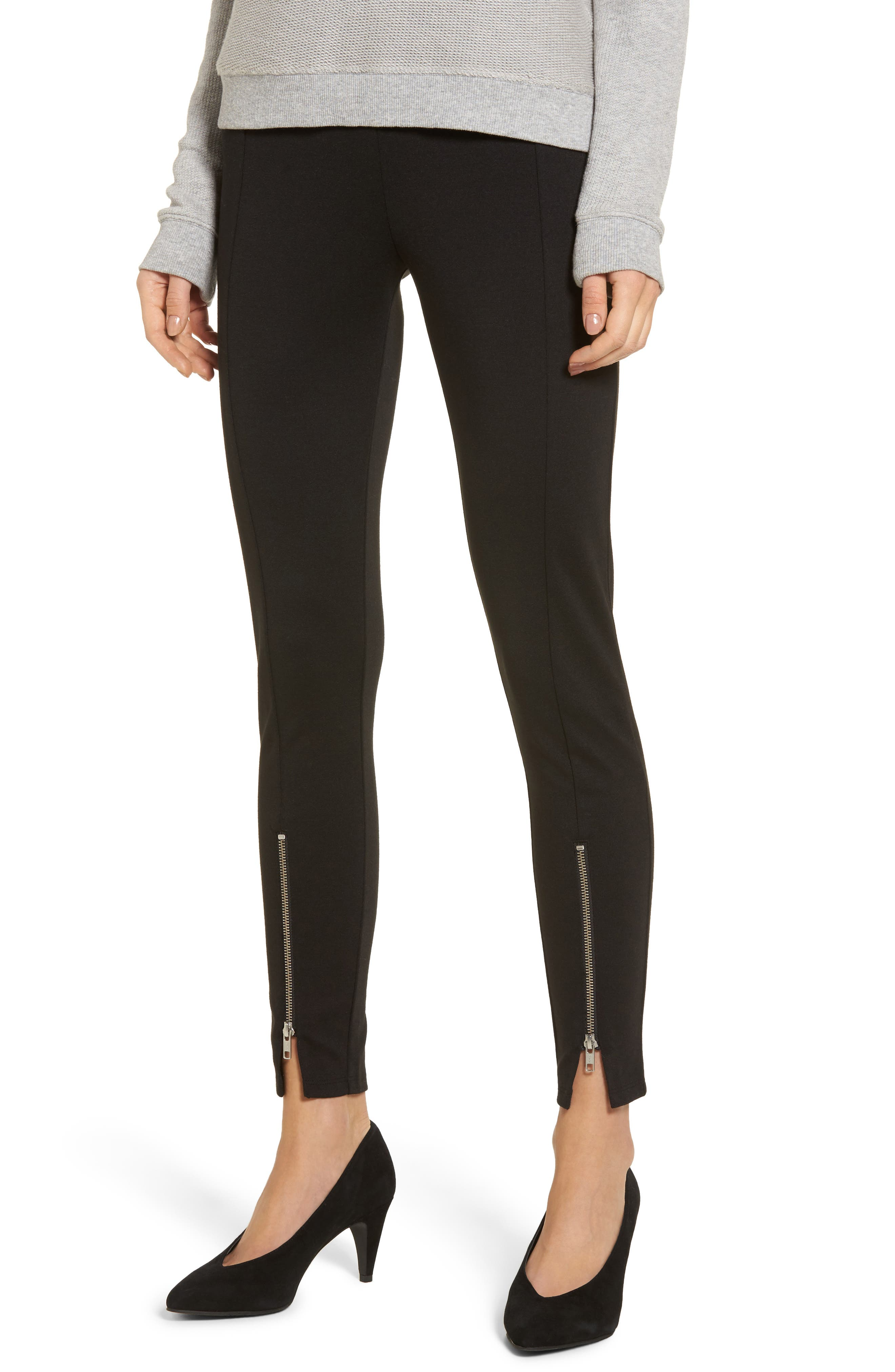 High-Waist Ankle Zip Leggings,                             Main thumbnail 1, color,                             Black