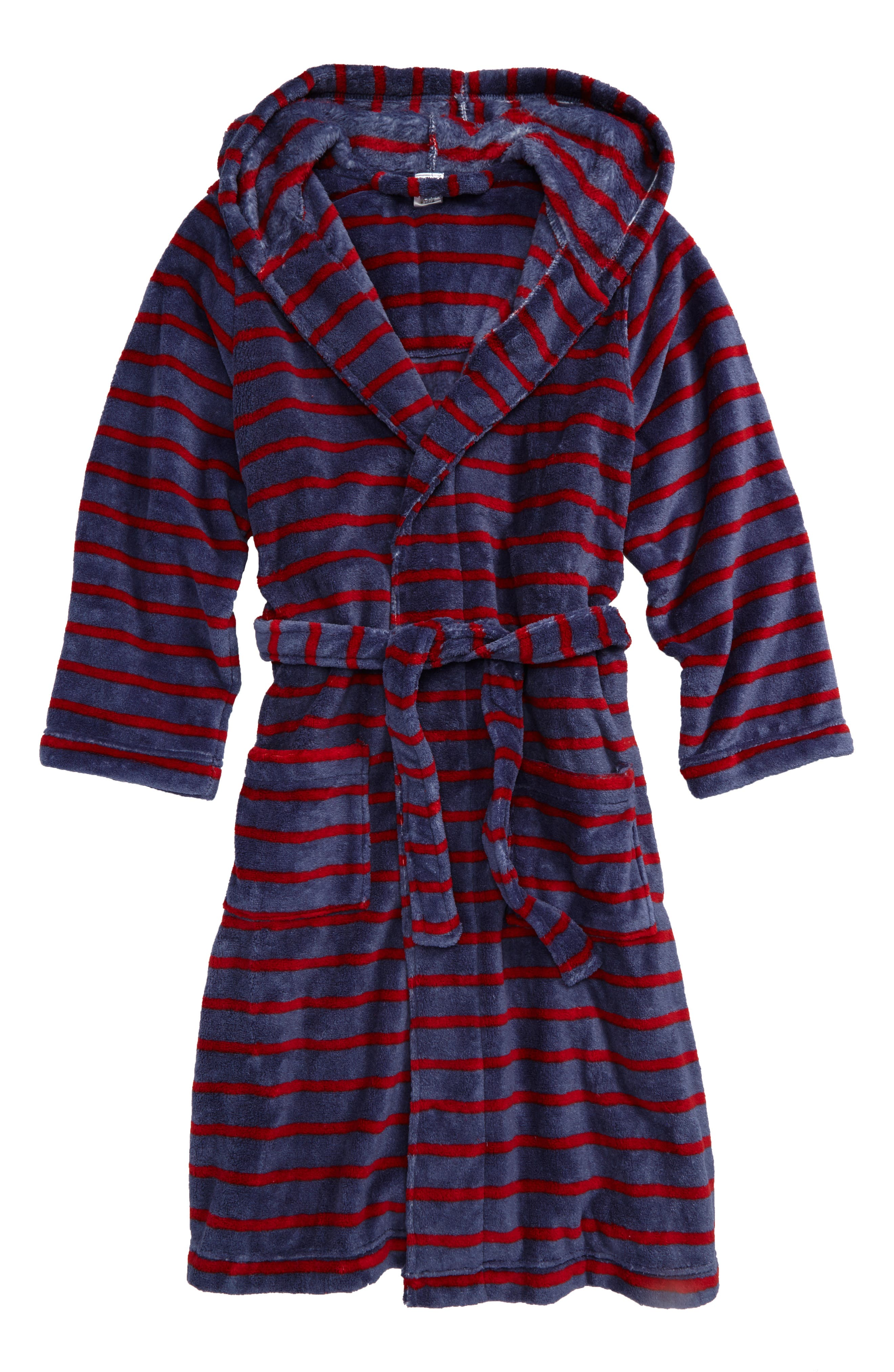 Hooded Plush Robe,                         Main,                         color, Blue Vintage- Red