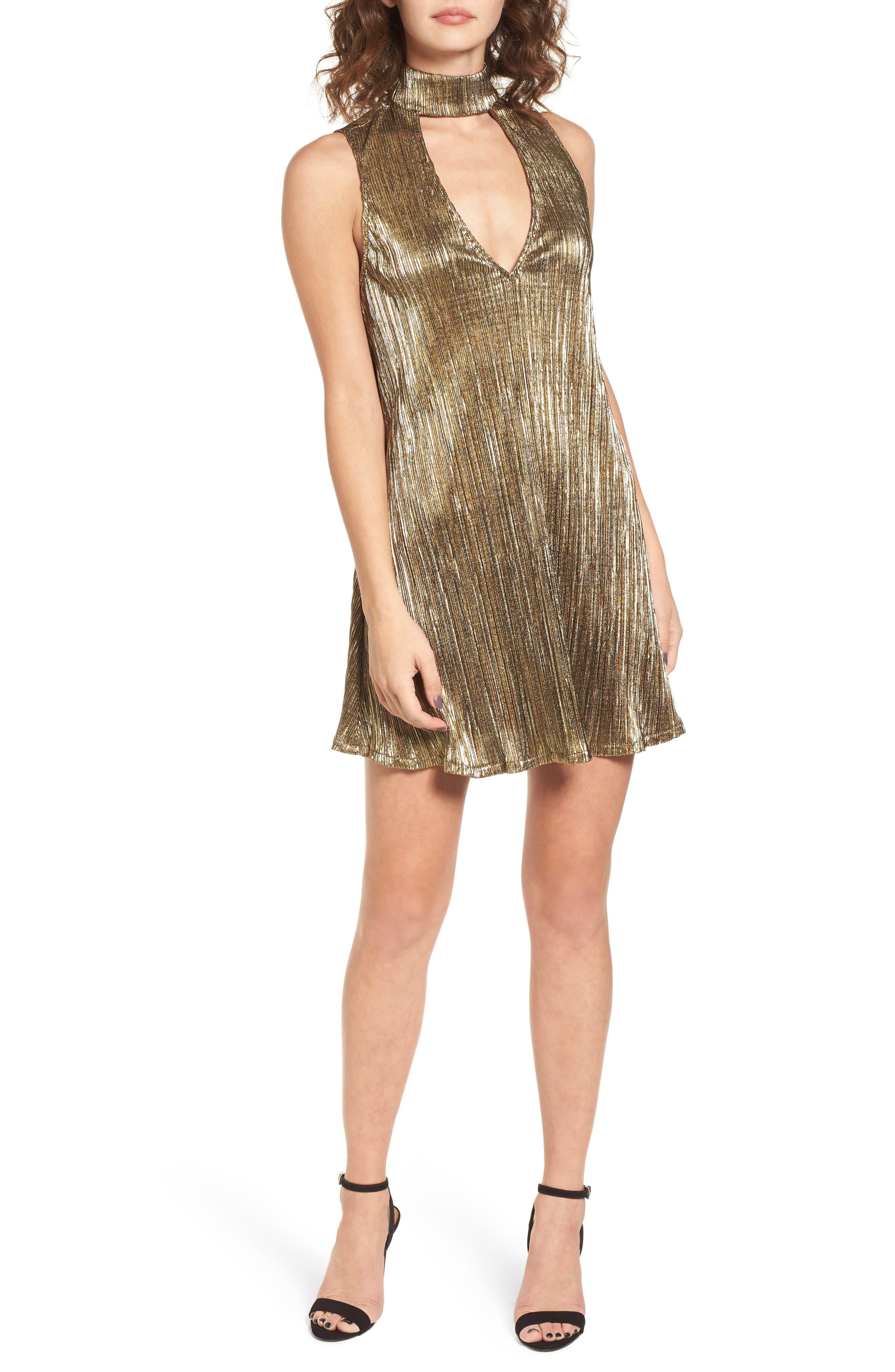 Friday Choker Dress,                         Main,                         color, Good As Gold Pleat