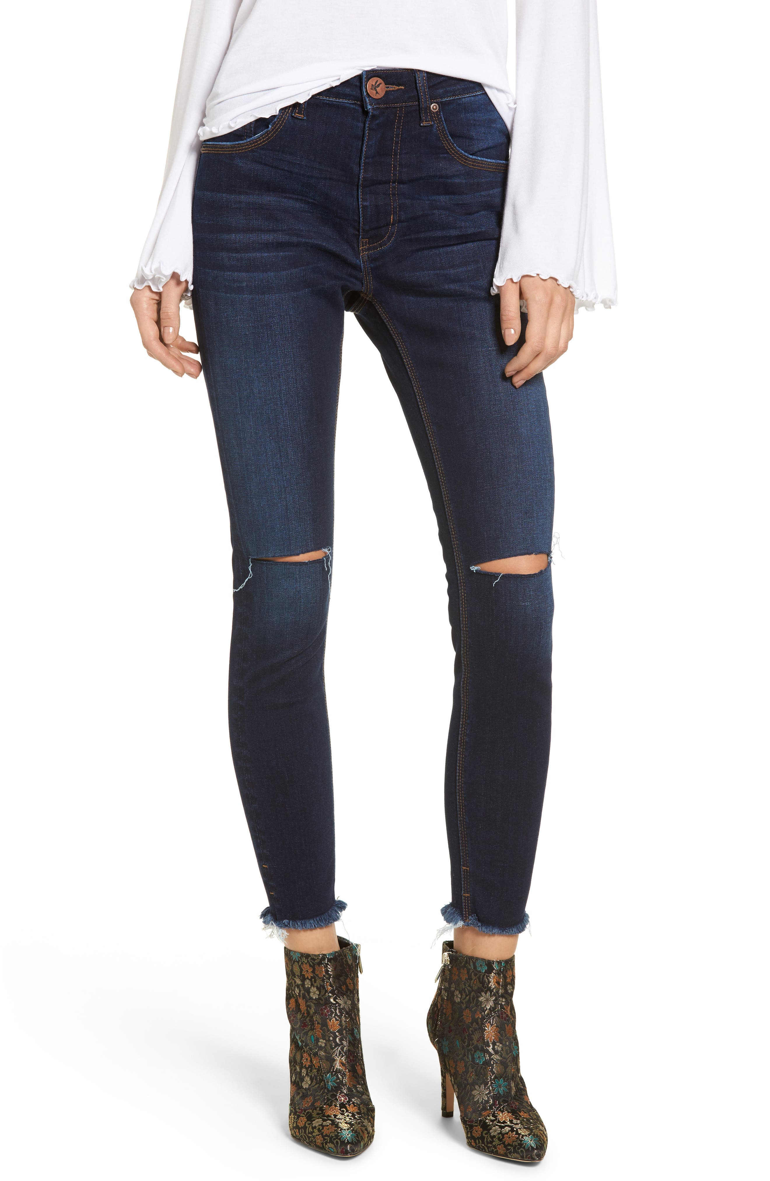 One Teaspoon Freebirds Ripped High Waist Skinny Jeans