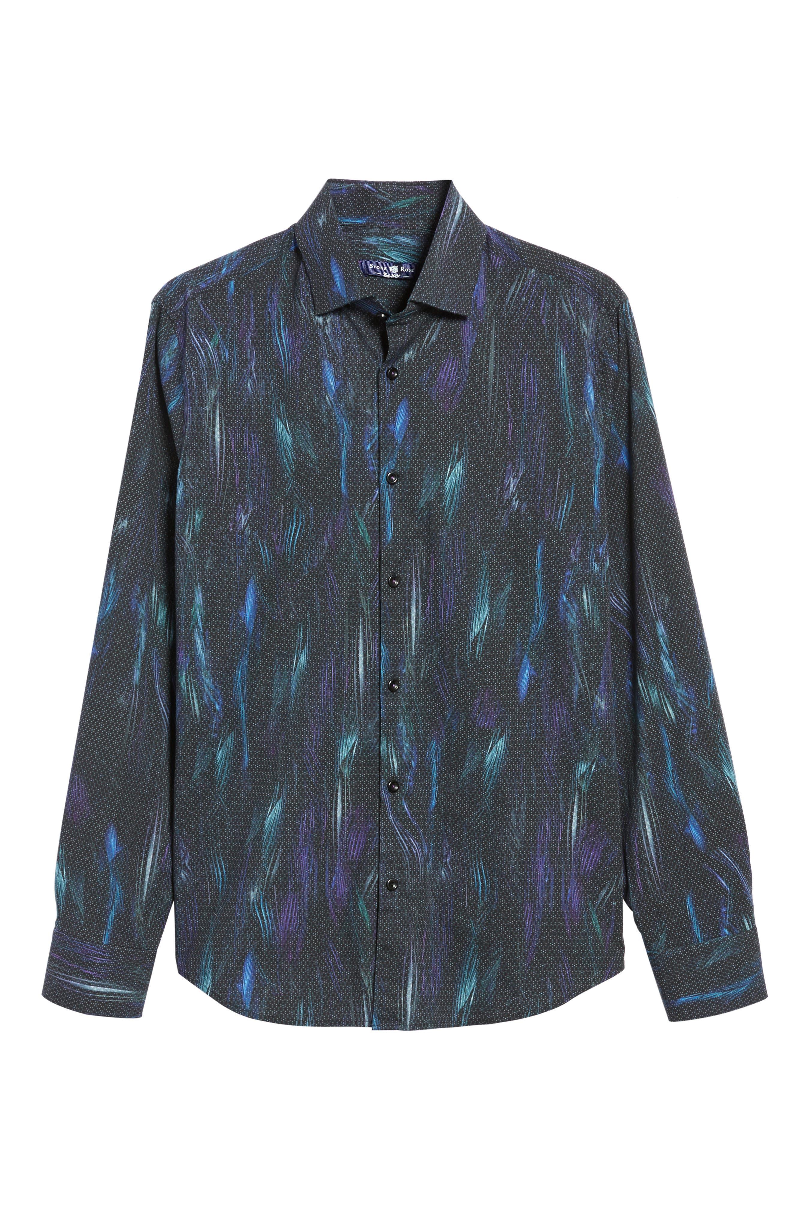 Slim Fit Geo FX Print Sport Shirt,                             Alternate thumbnail 6, color,                             Black