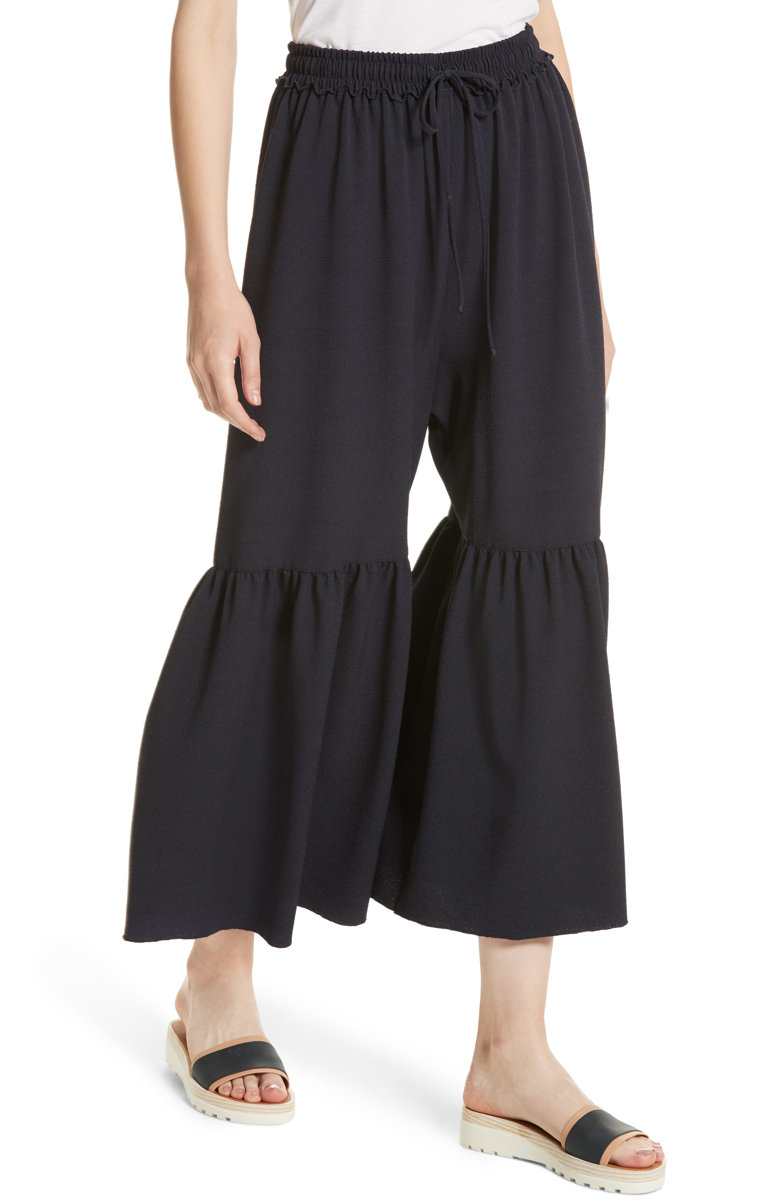 Moroccan Flare Pants,                             Alternate thumbnail 4, color,                             Navy