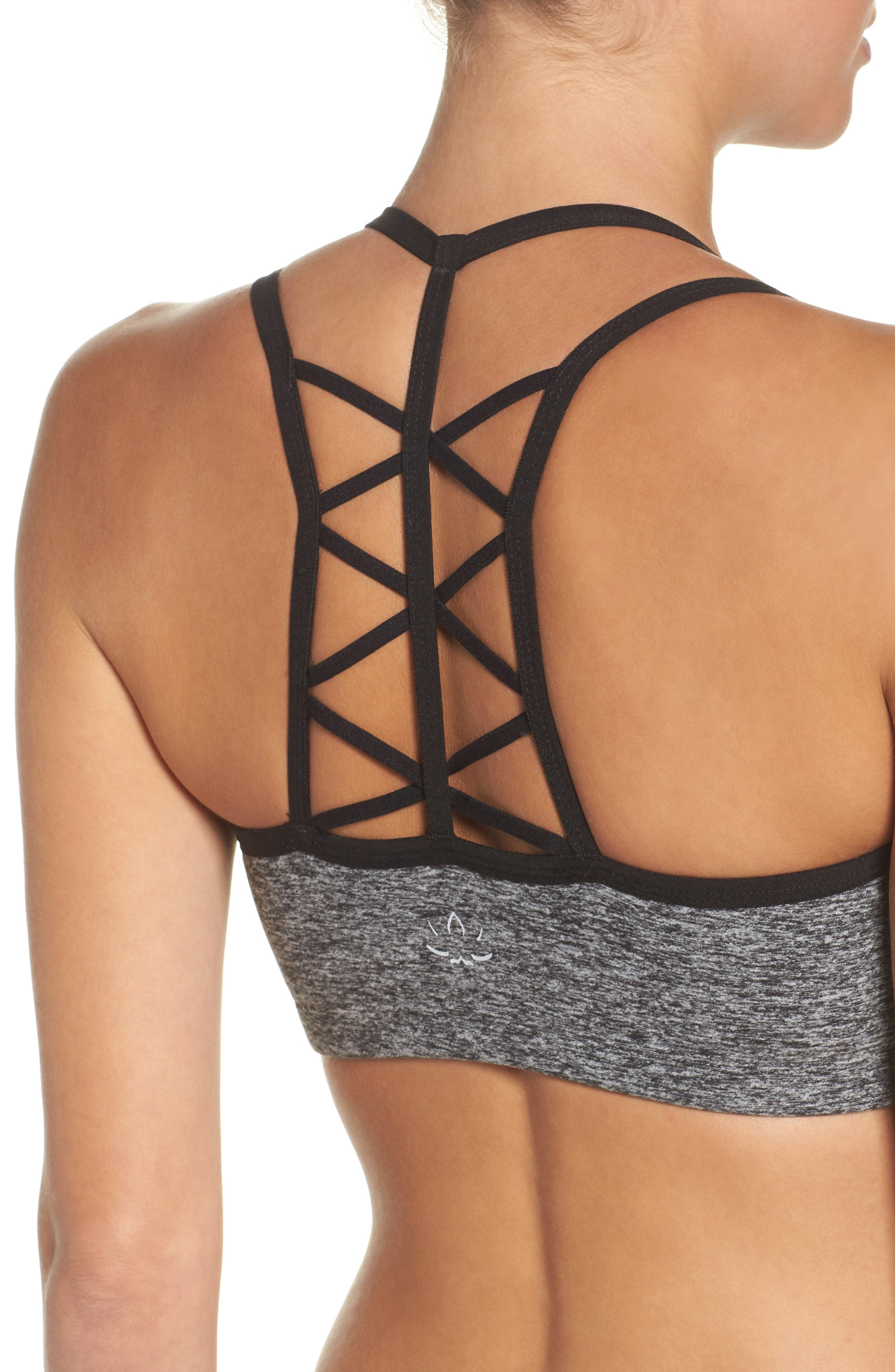 Strappy Hour Bra,                             Alternate thumbnail 4, color,                             Black/ White