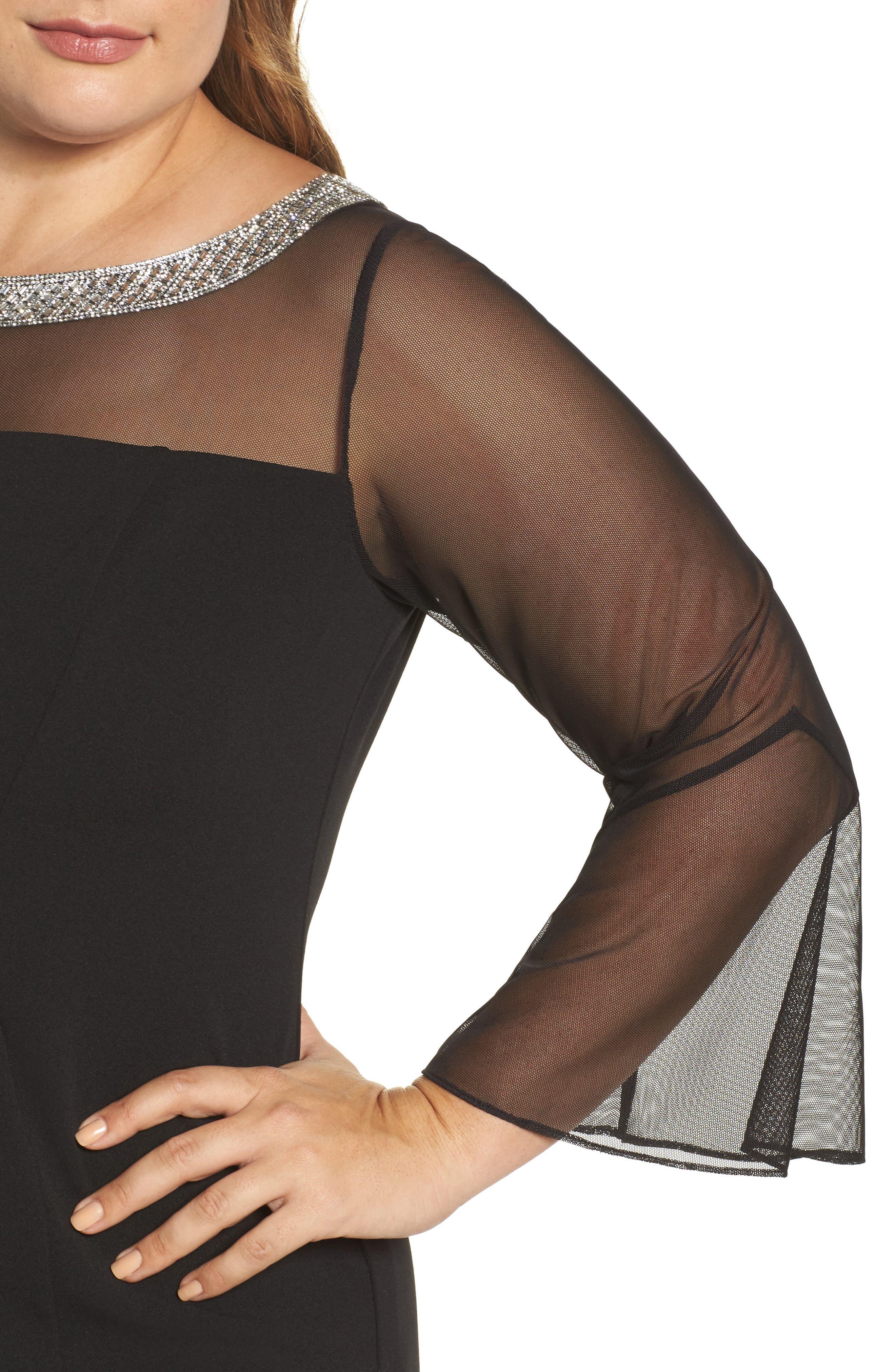 Embellished Illusion Shift Dress,                             Alternate thumbnail 4, color,                             Black
