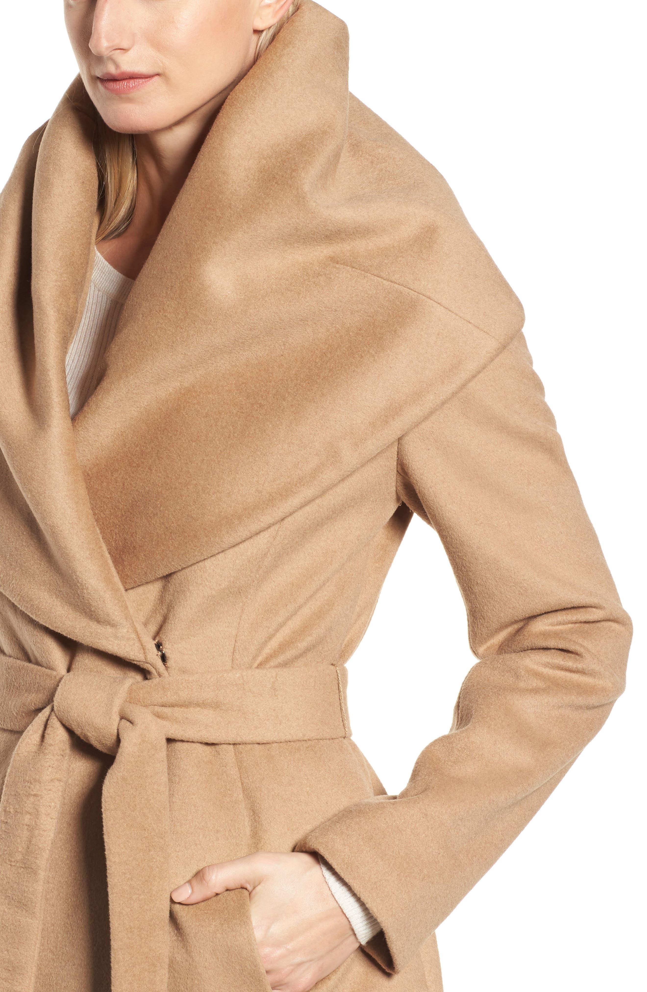 Alternate Image 4  - DKNY Wool Blend Shawl Collar Wrap Coat