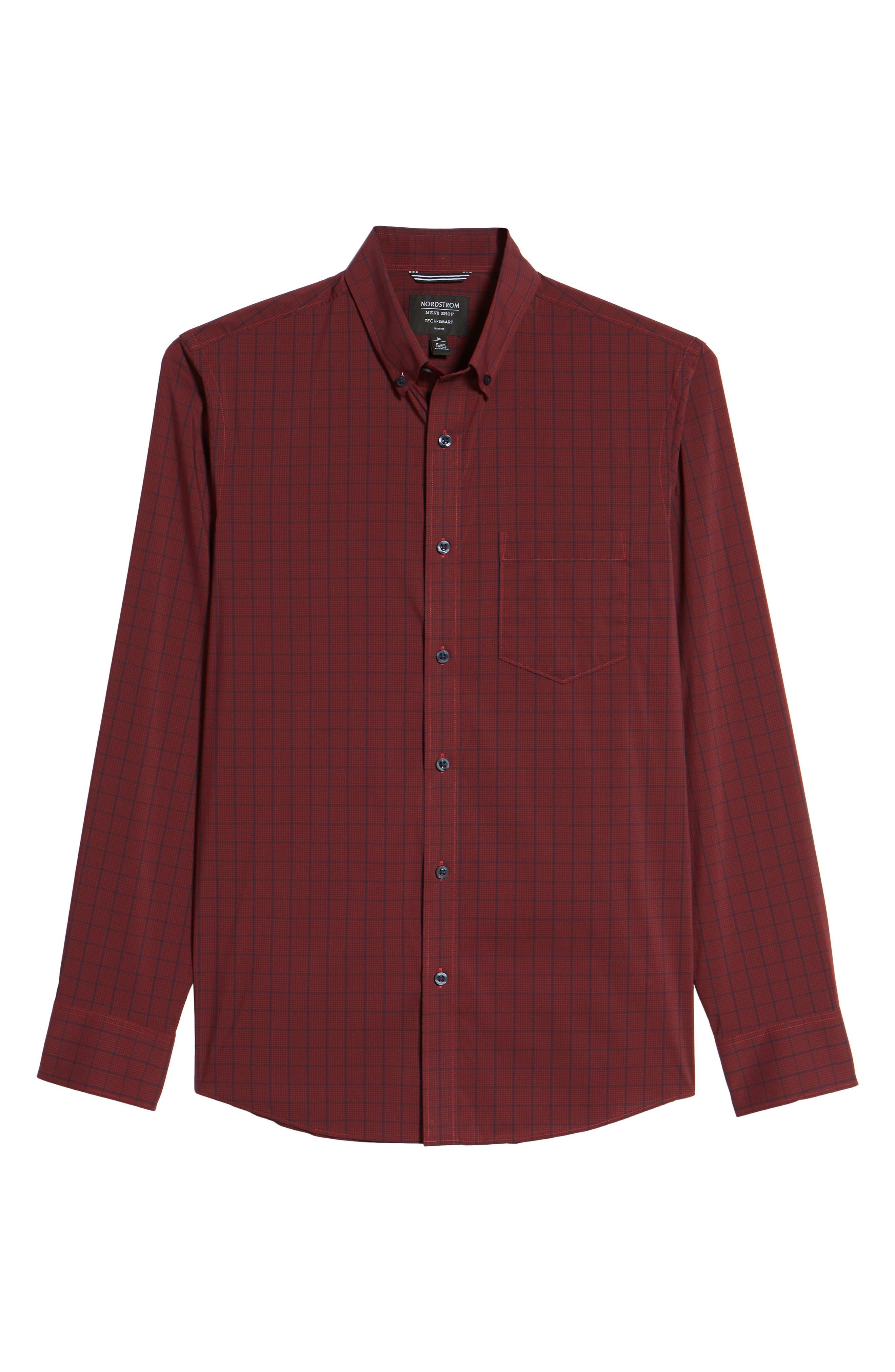 Spade Tech-Smart Plaid Sport Shirt,                             Alternate thumbnail 6, color,                             Burgundy Stem Grid Plaid