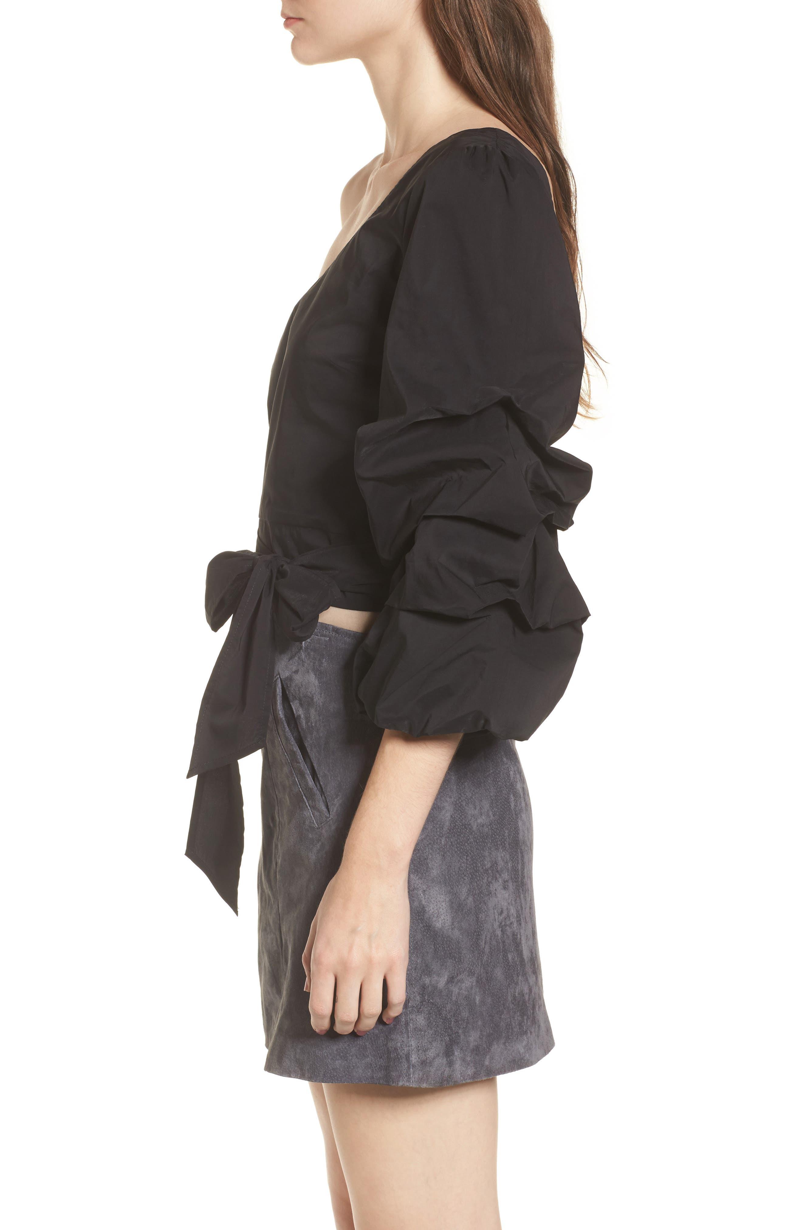 Ruffle One-Shoulder Blouse,                             Alternate thumbnail 3, color,                             Black