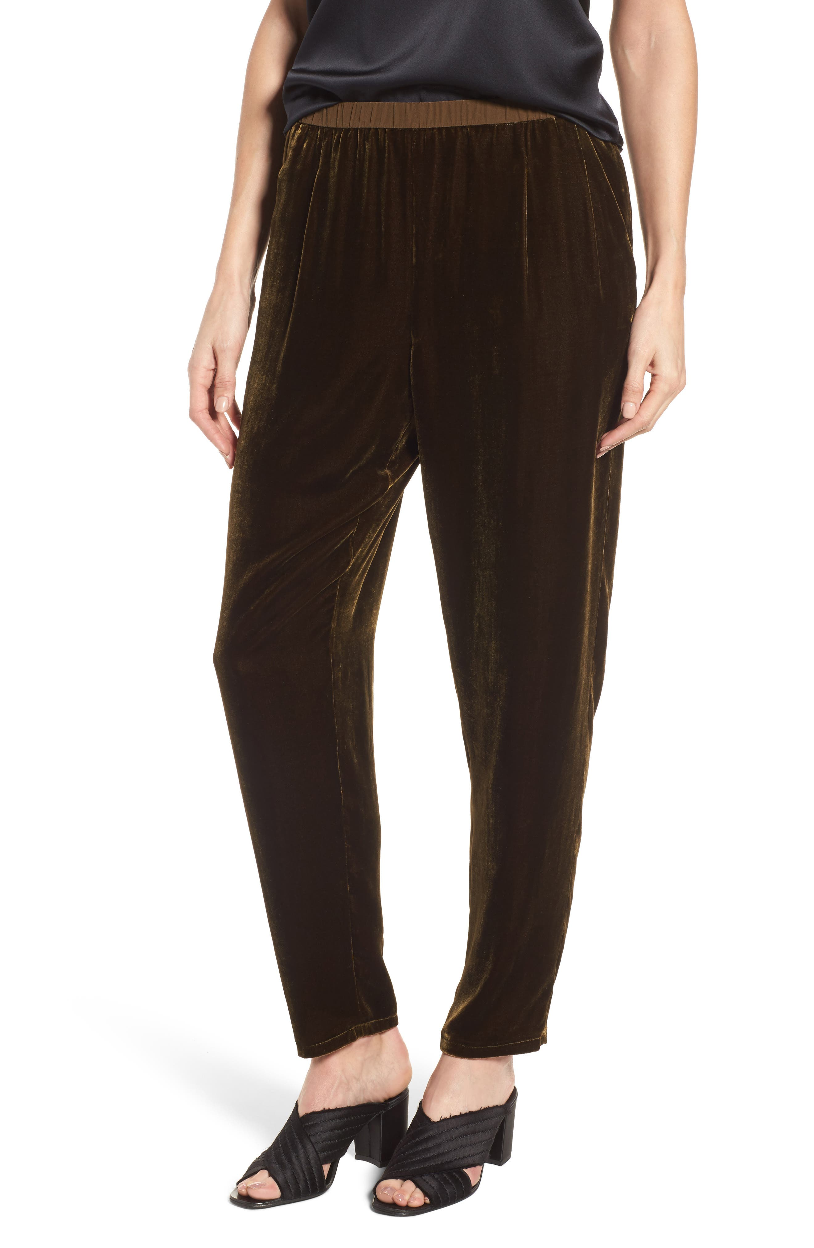 Alternate Image 1 Selected - Eileen Fisher Velvet Ankle Pants (Regular & Petite)