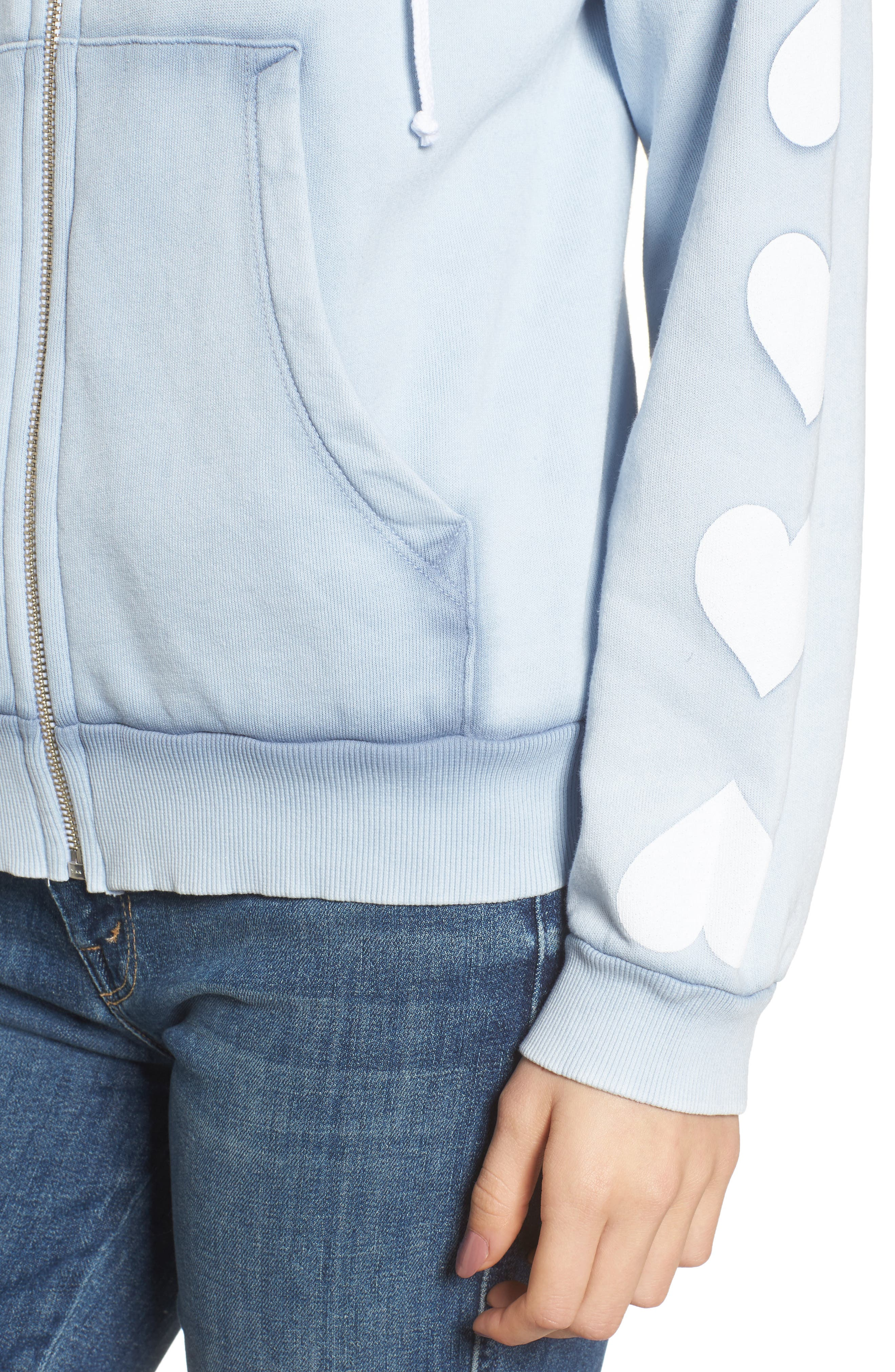 Heart of Hearts Zip Hoodie,                             Alternate thumbnail 4, color,                             Blue Ribbon