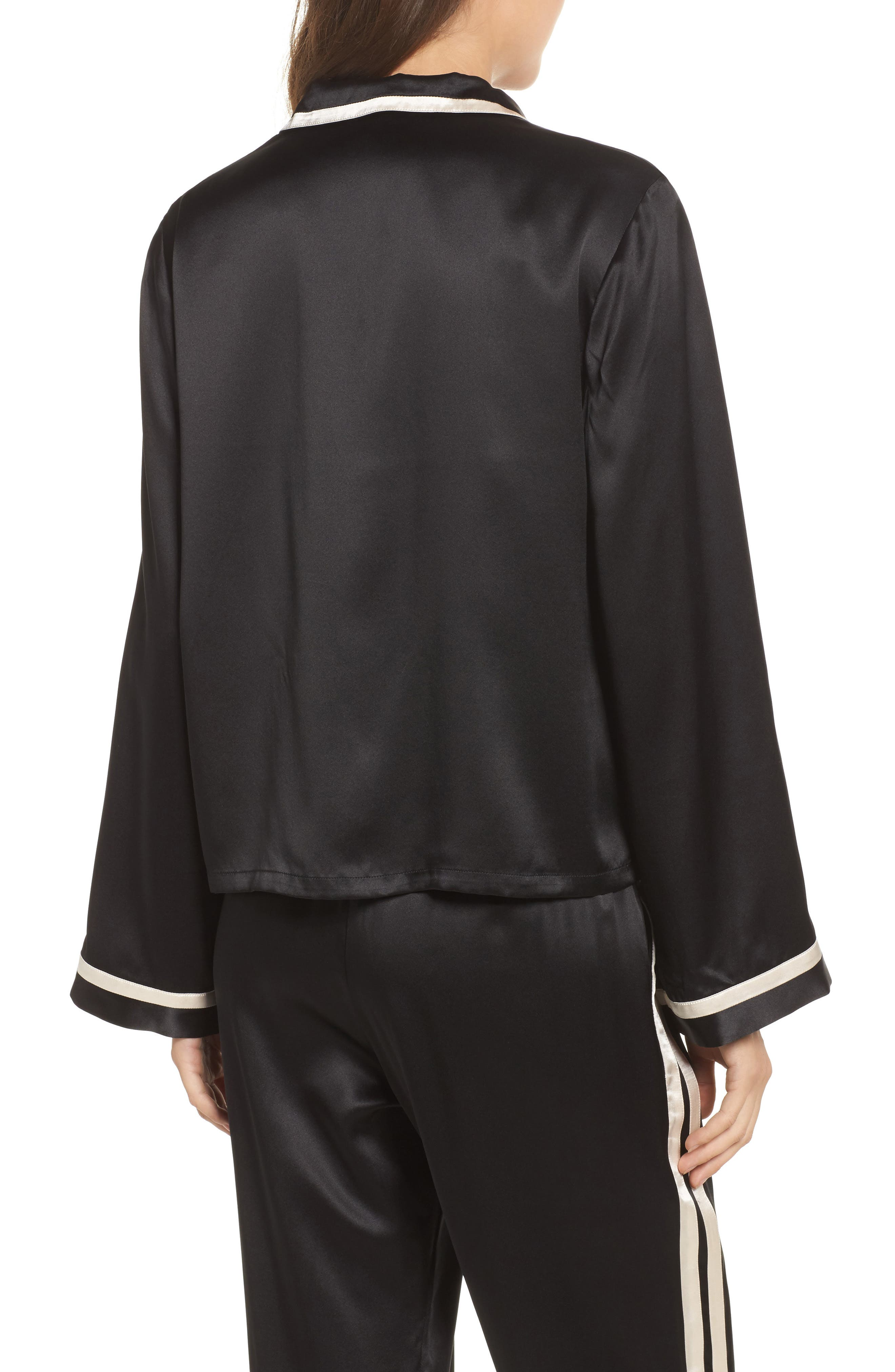 Ruthie Silk Charmeuse Pajama Top,                             Alternate thumbnail 2, color,                             Noir/ Vanilla