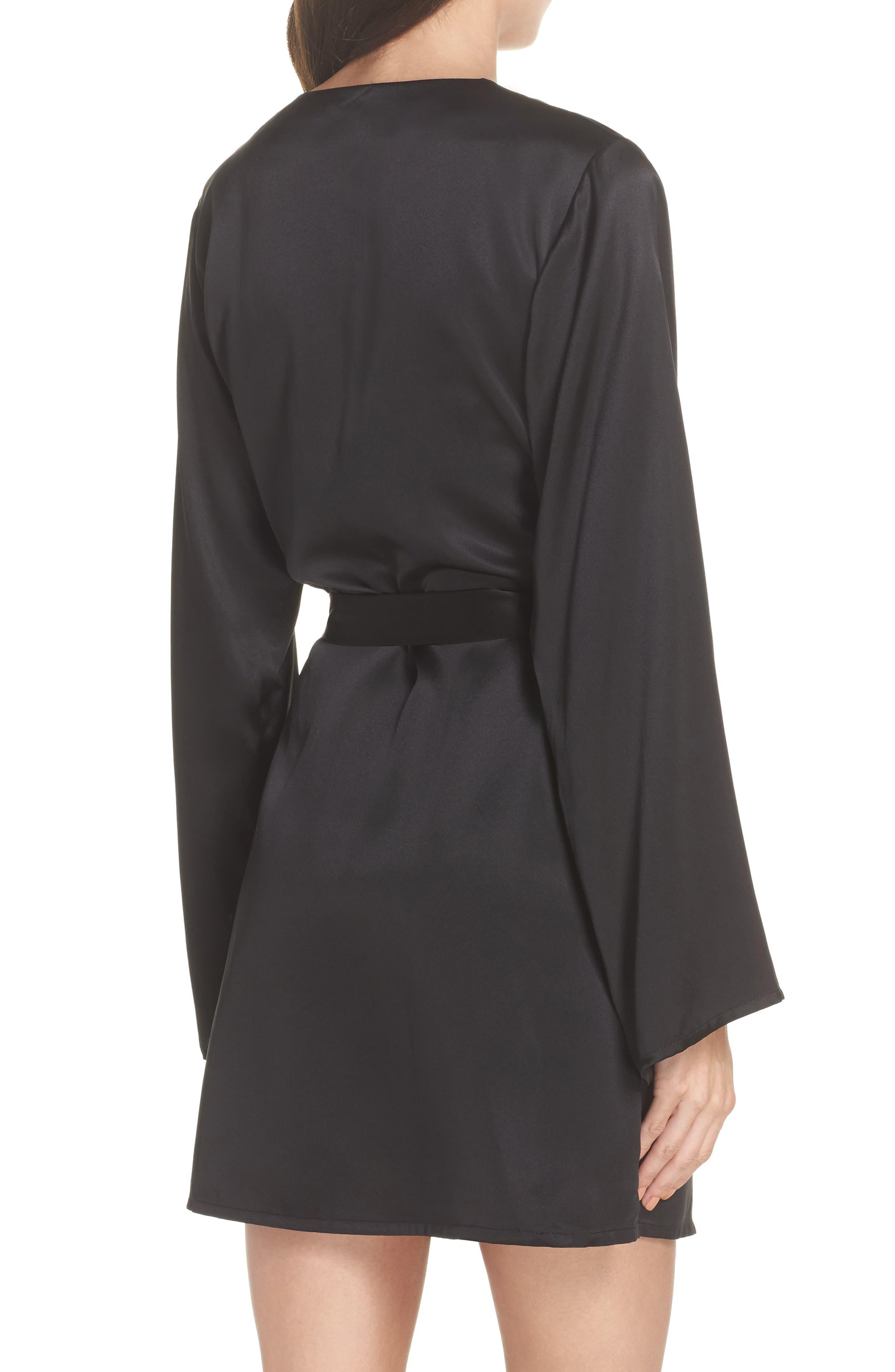 Langley Silk Charmeuse Short Robe,                             Alternate thumbnail 2, color,                             Noir