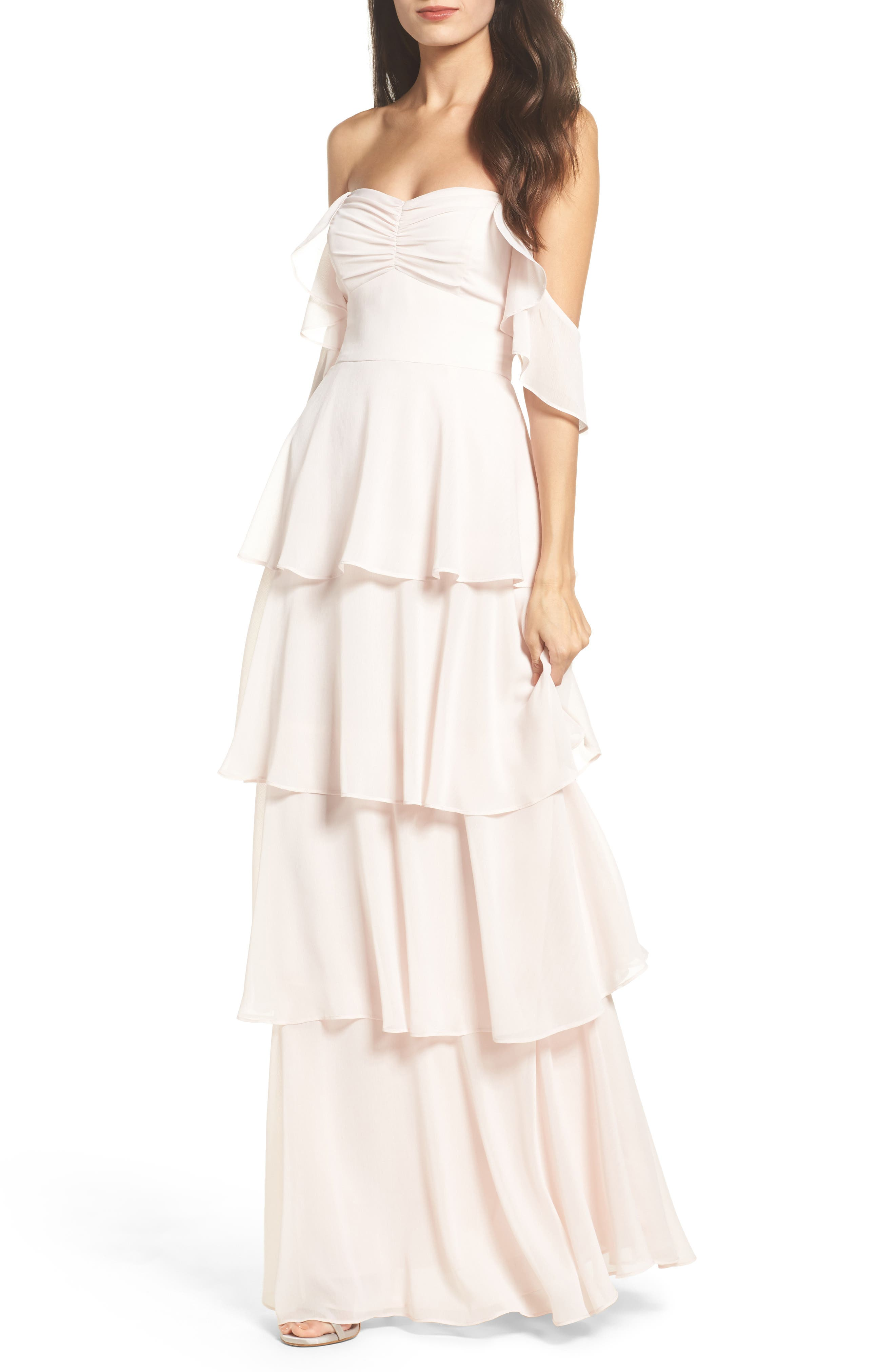 Abby Off the Shoulder Tiered Dress,                             Main thumbnail 1, color,                             Powder Blush