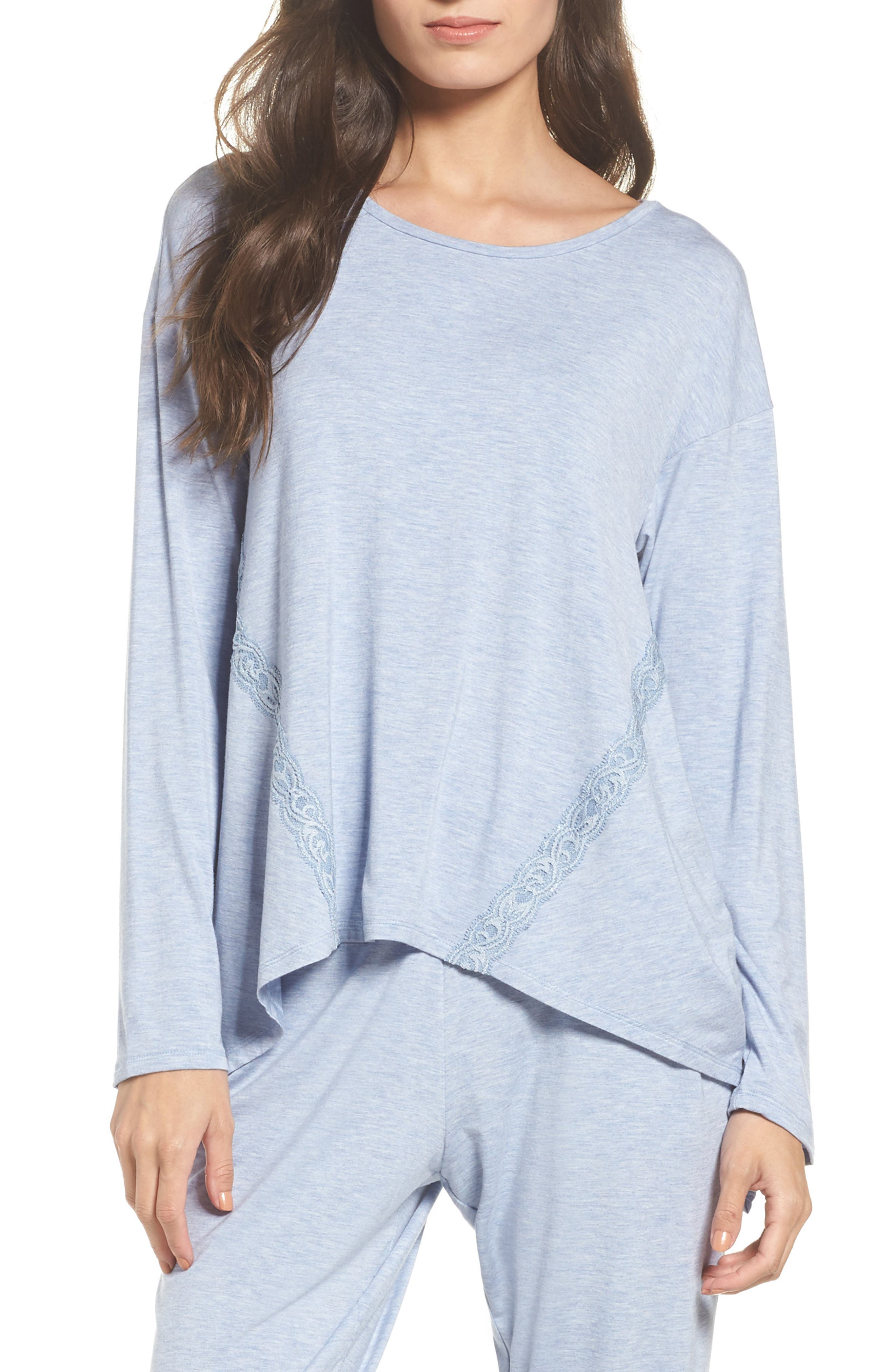 Lace Trim Tee,                         Main,                         color, Heb Ht Ink