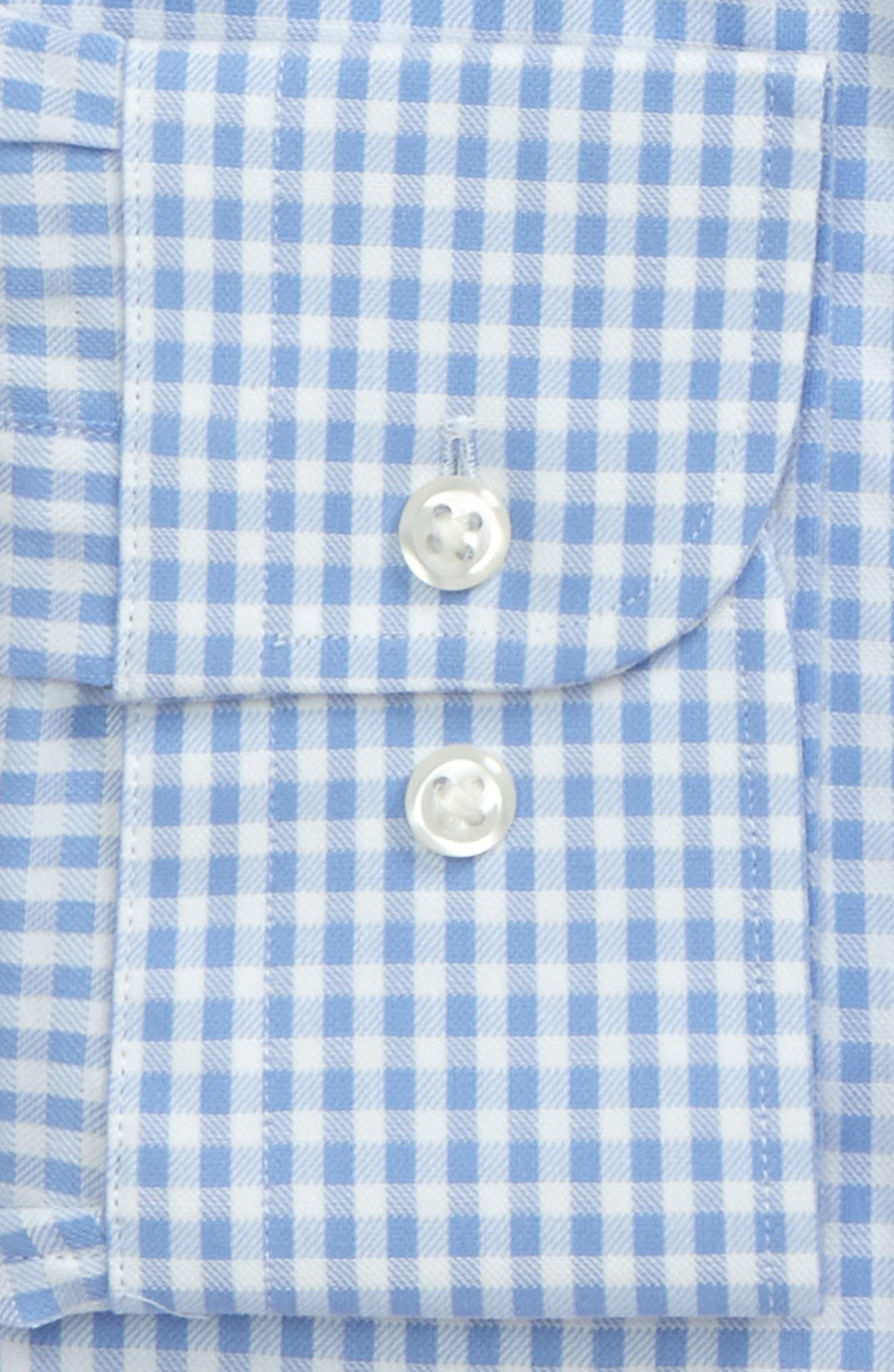 Tech-Smart Traditional Fit Stretch Check Dress Shirt,                             Alternate thumbnail 3, color,                             Blue Stork