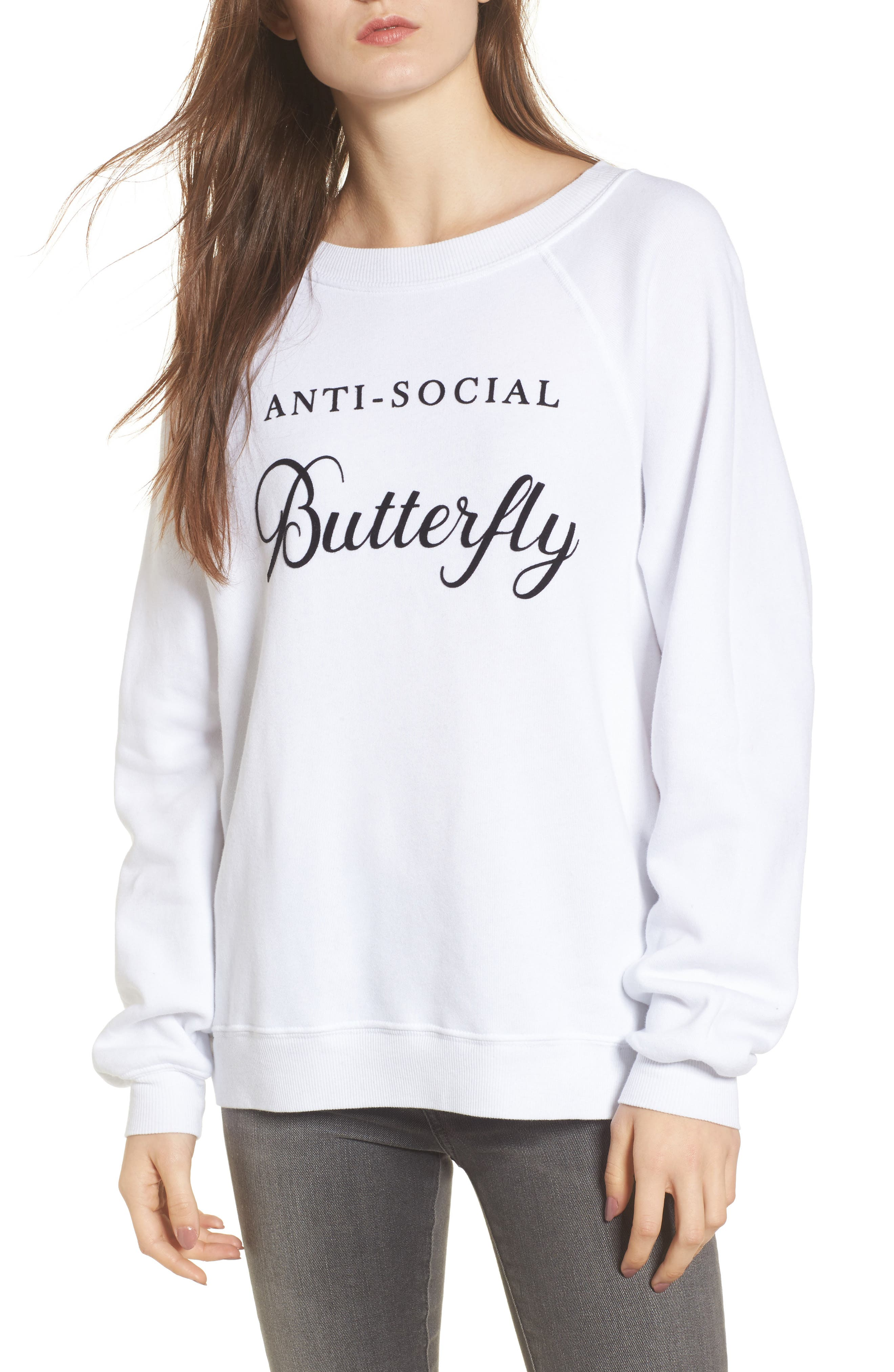 Anti-Social Butterfly Sweatshirt,                         Main,                         color, Clean White