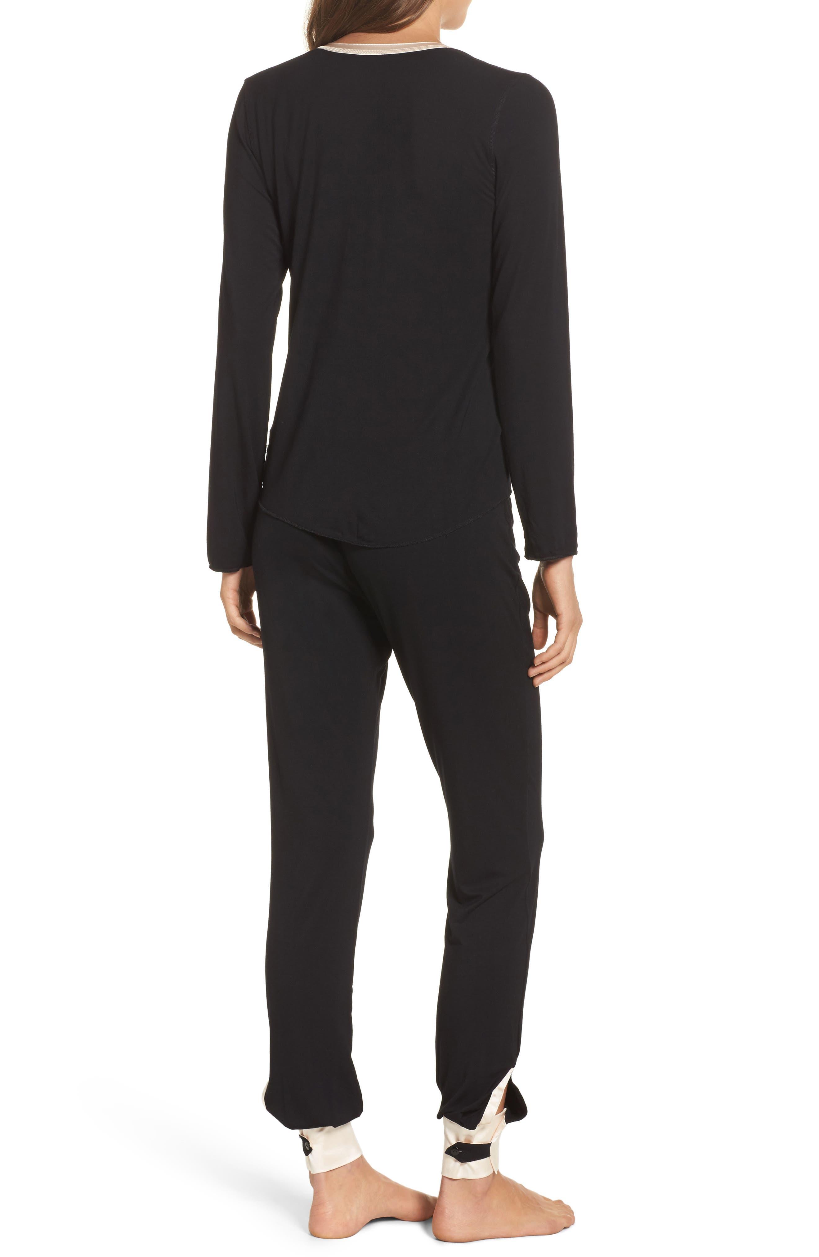 Cara Modal Knit Long Pajamas,                             Alternate thumbnail 2, color,                             Noir/ Vanilla