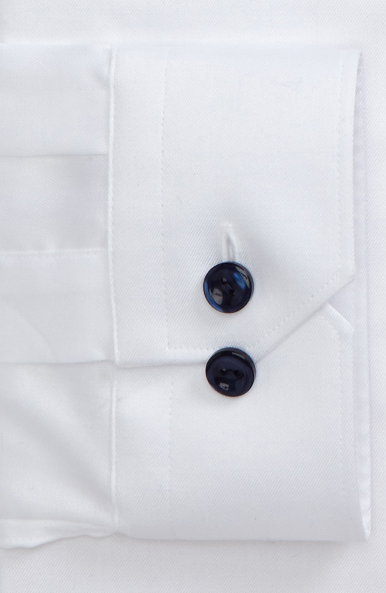 Super Slim Fit Twill Dress Shirt with Navy Details,                             Alternate thumbnail 3, color,                             White/ Navy