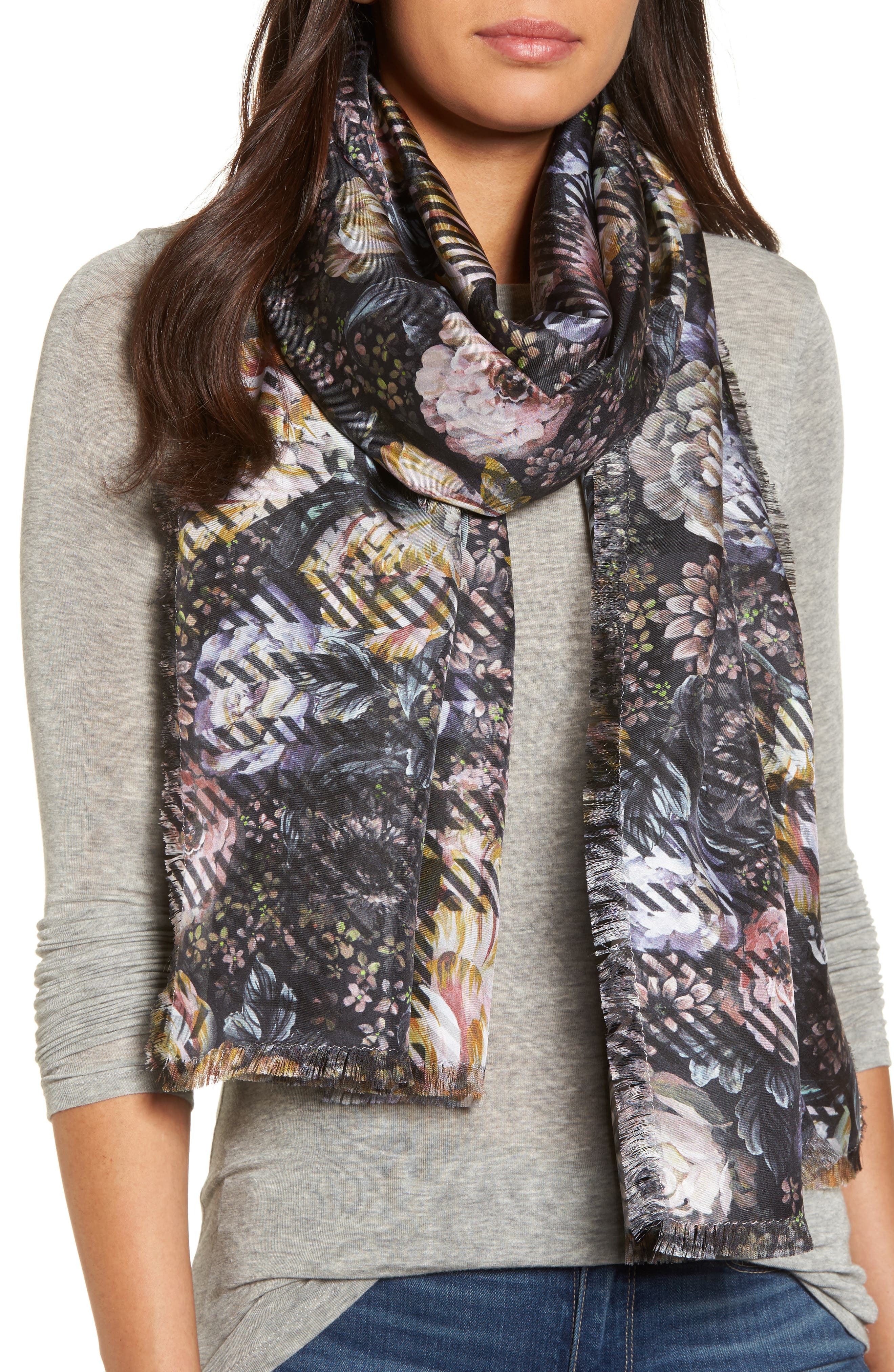 Floral Plaid Silk Wrap,                         Main,                         color, Marshmallow