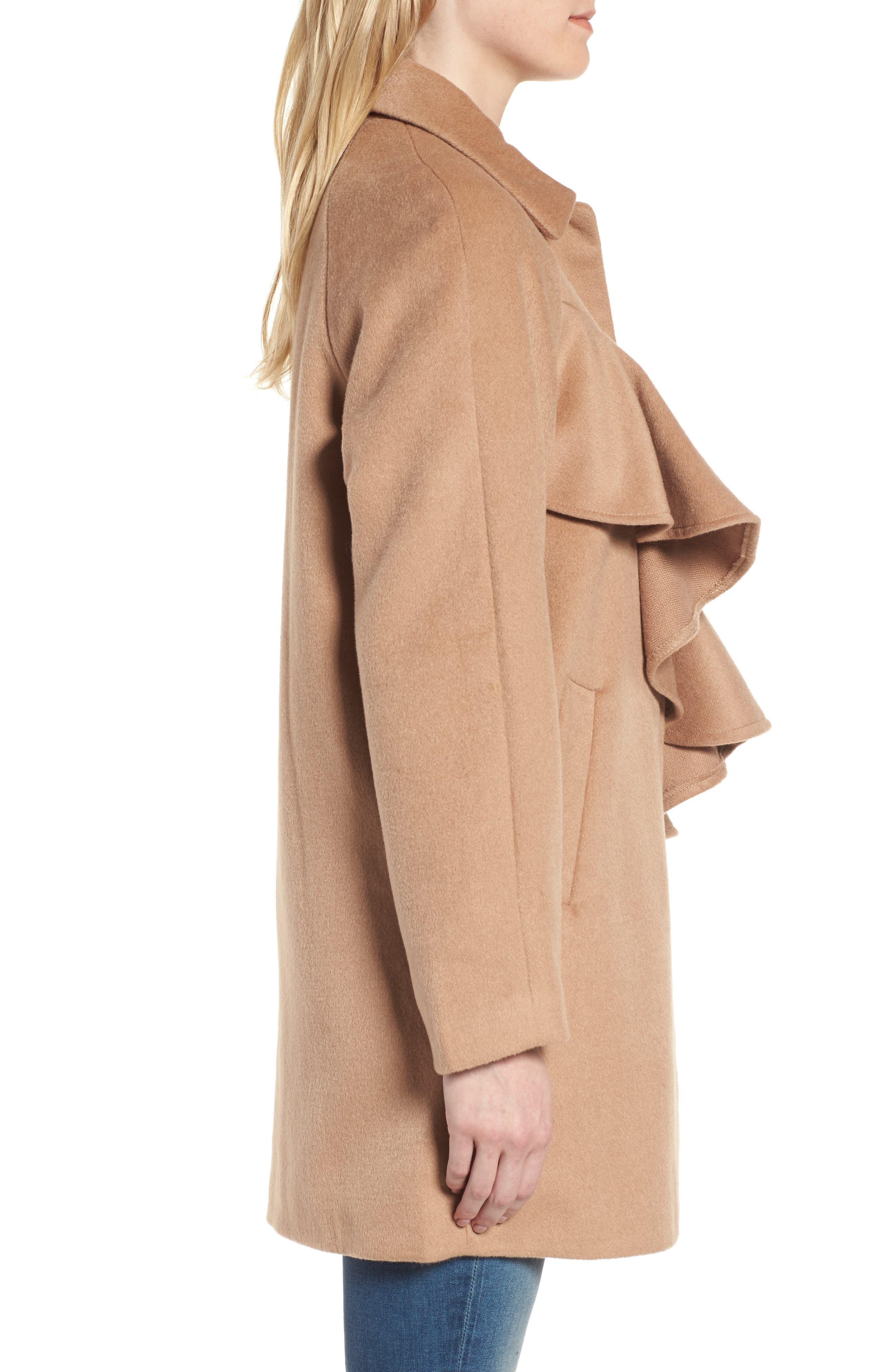 Frill Front Coat,                             Alternate thumbnail 3, color,                             Tan