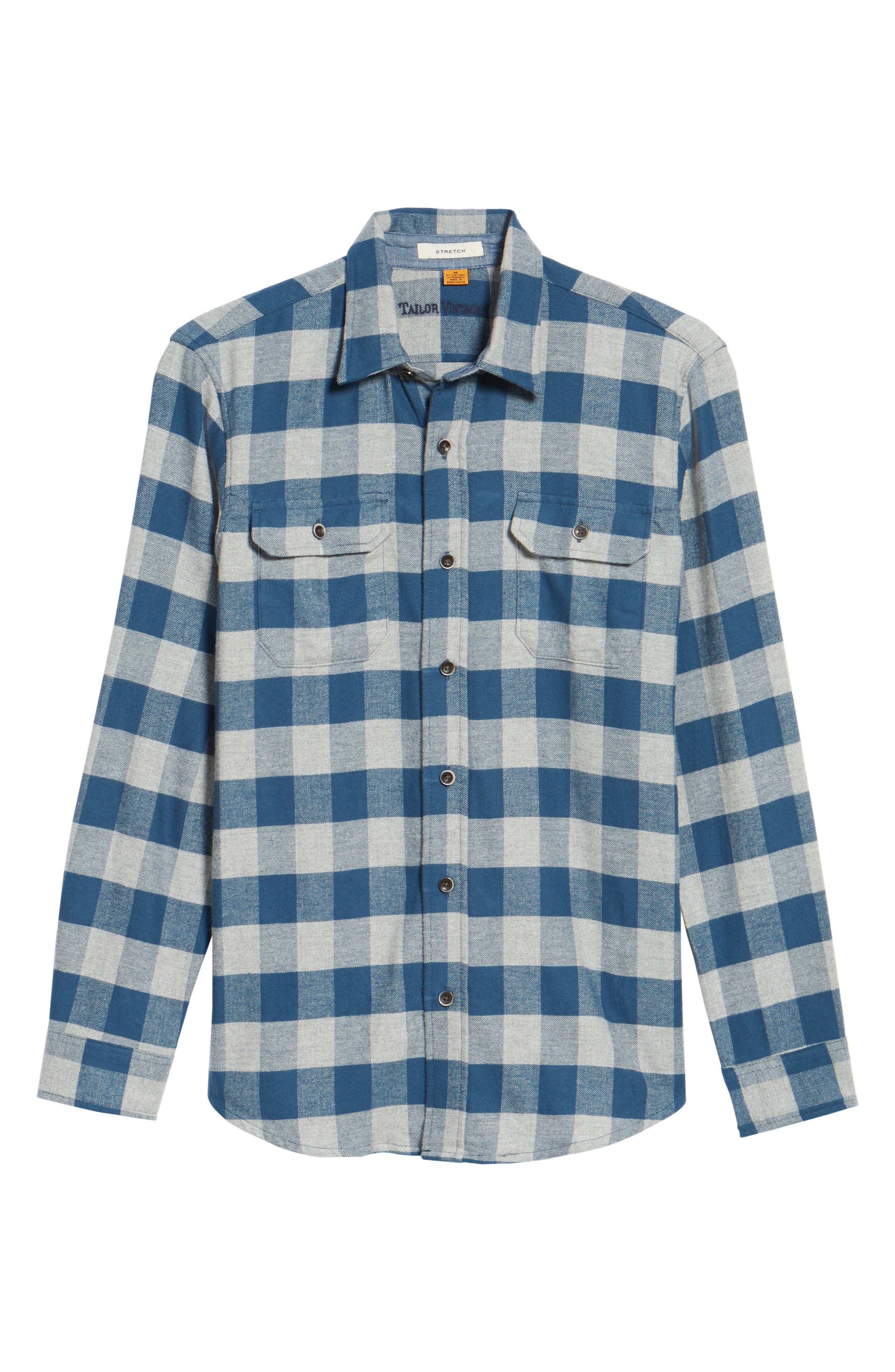 Buffalo Check Flannel Shirt,                             Alternate thumbnail 6, color,                             Teal/ Med Grey Heather