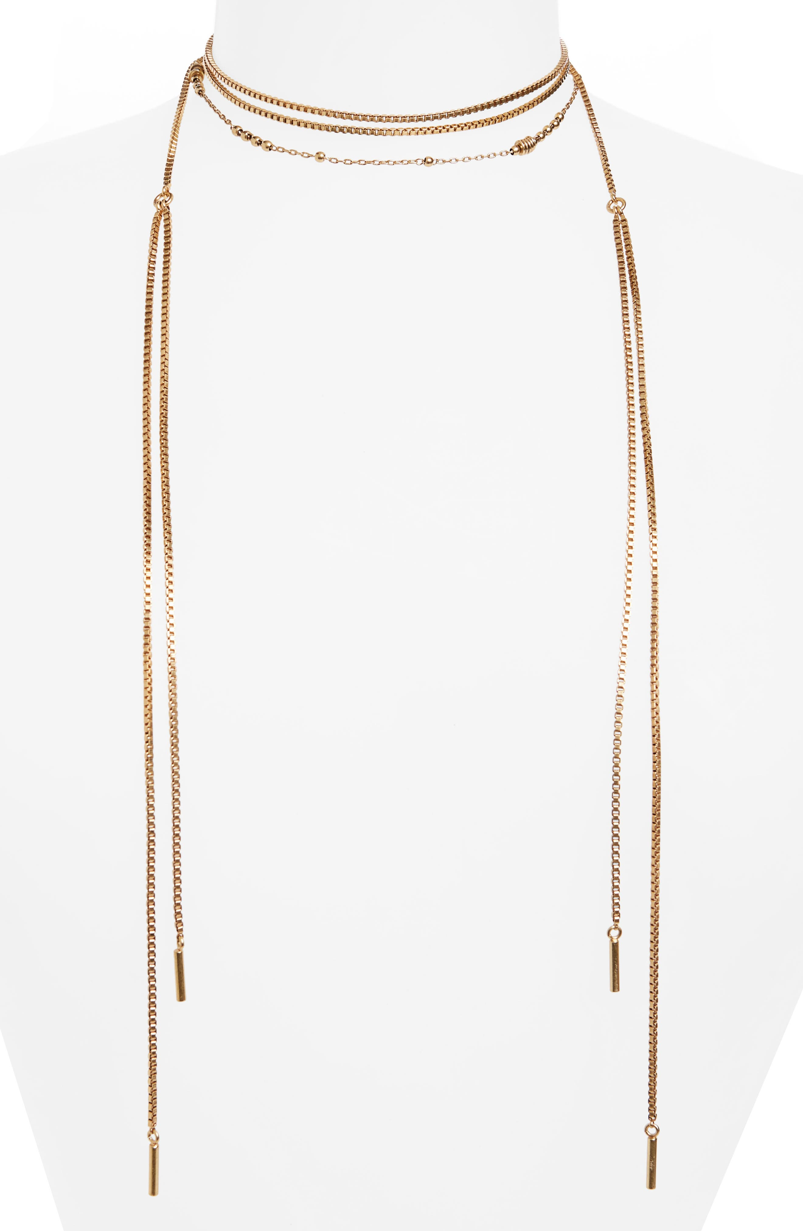 Chain Wrap Necklace,                         Main,                         color, Lt. Gold Ox