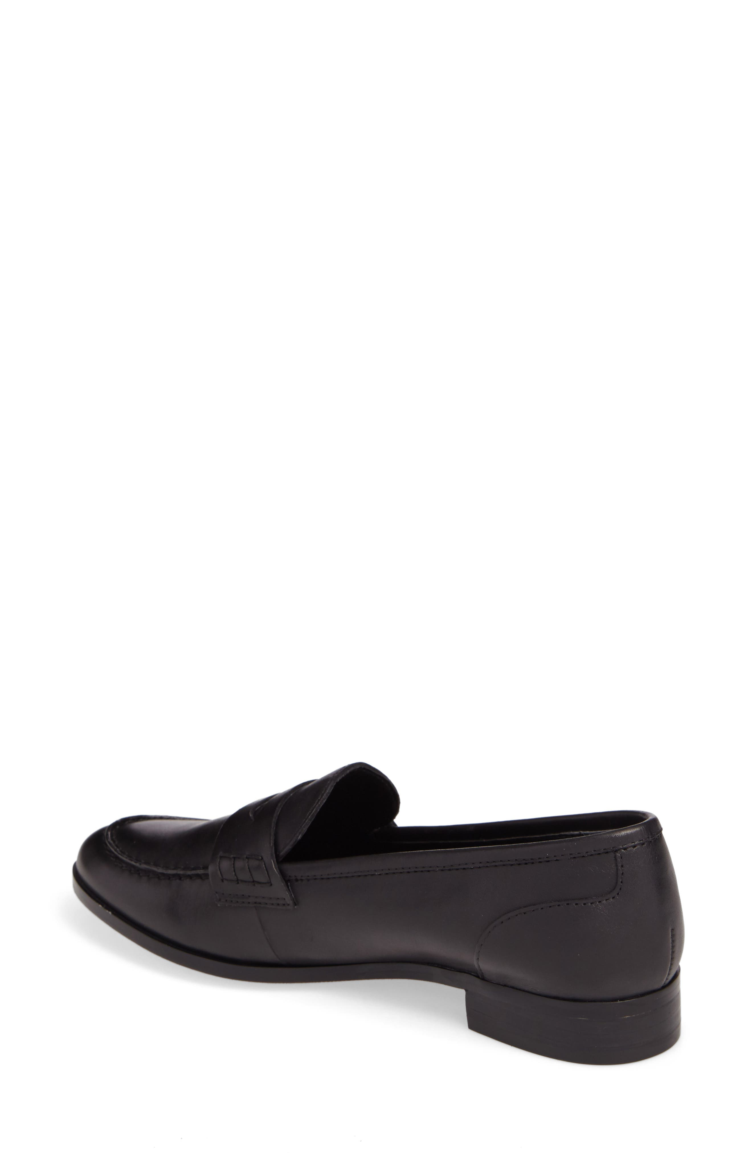 Georgie Penny Loafer,                             Alternate thumbnail 2, color,                             Black Leather