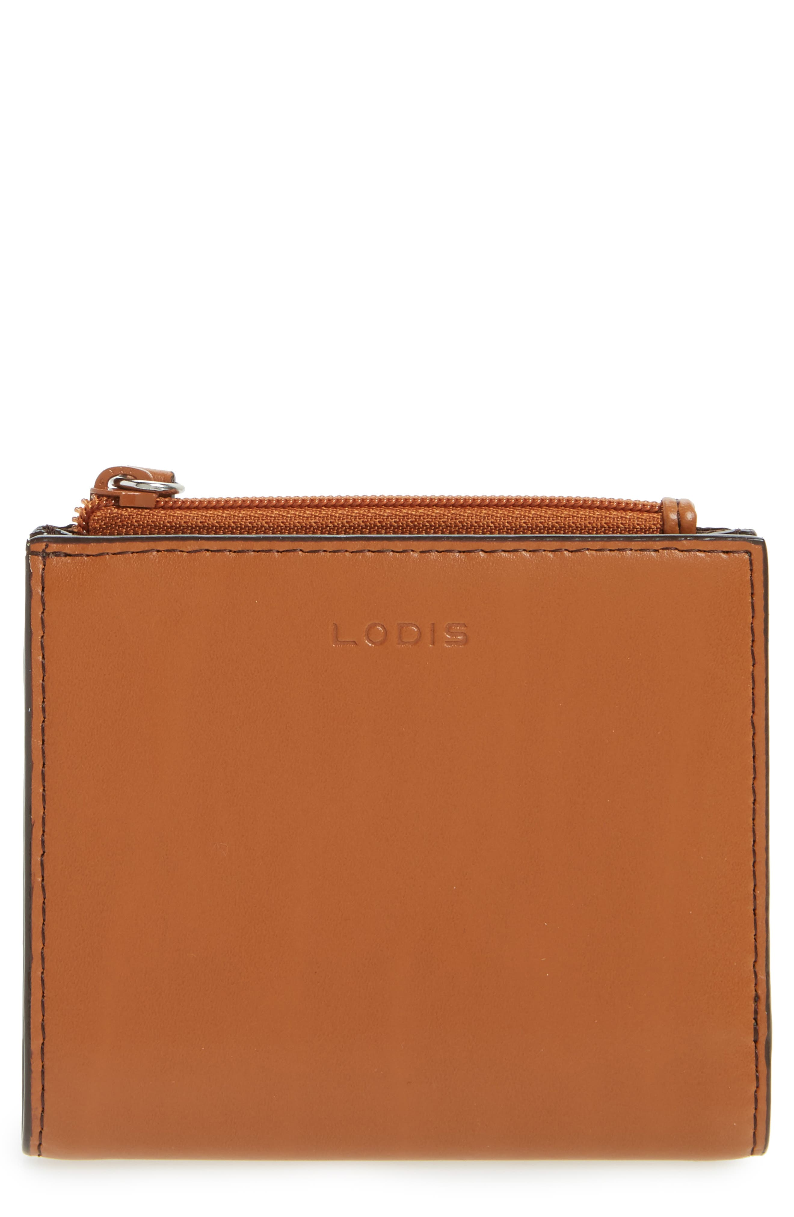 Audrey Under Lock & Key Aldis Leather Wallet,                             Main thumbnail 1, color,                             Toffee