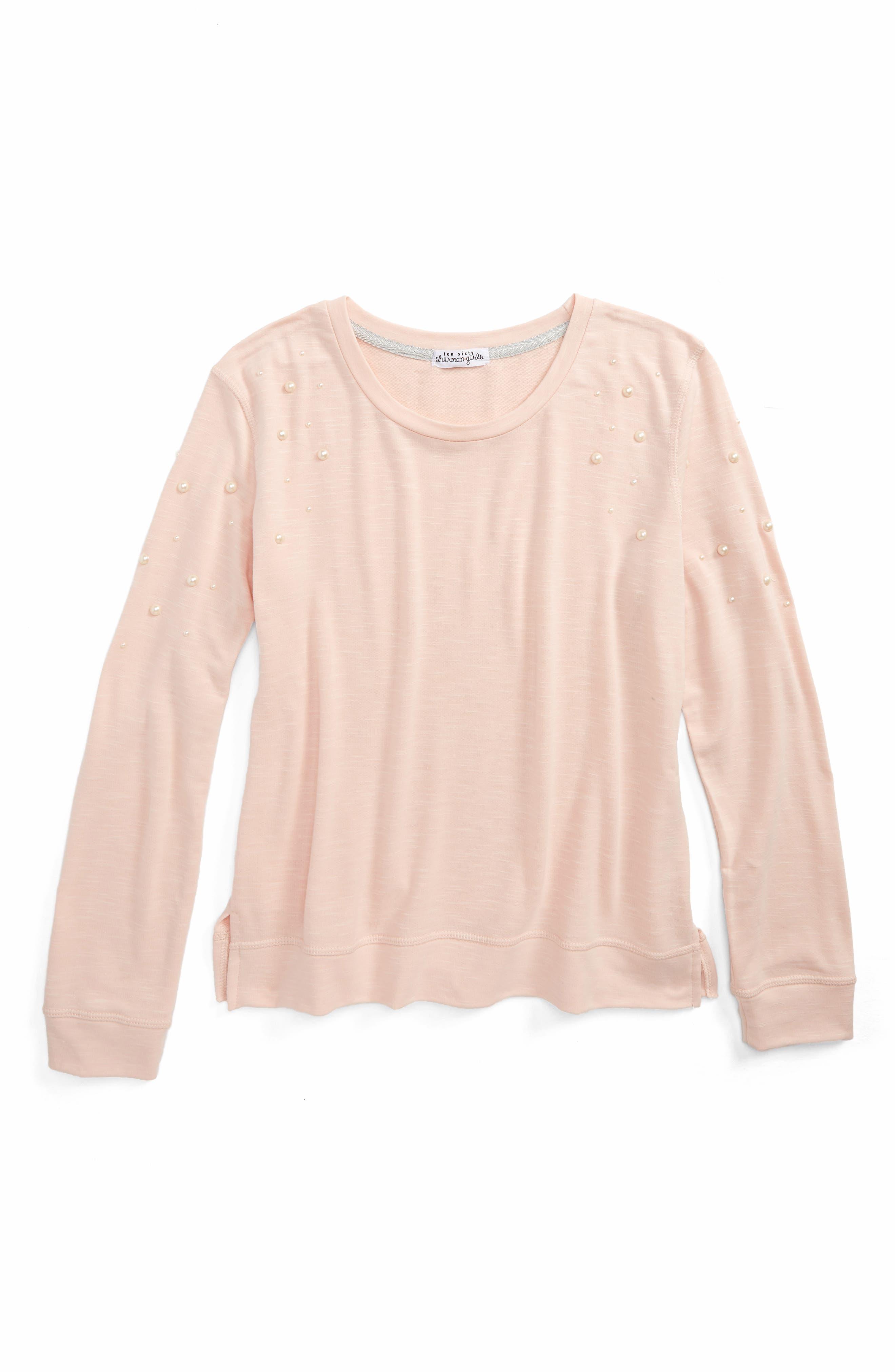 Imitation Pearl Embellished Sweatshirt,                             Main thumbnail 1, color,                             Blush