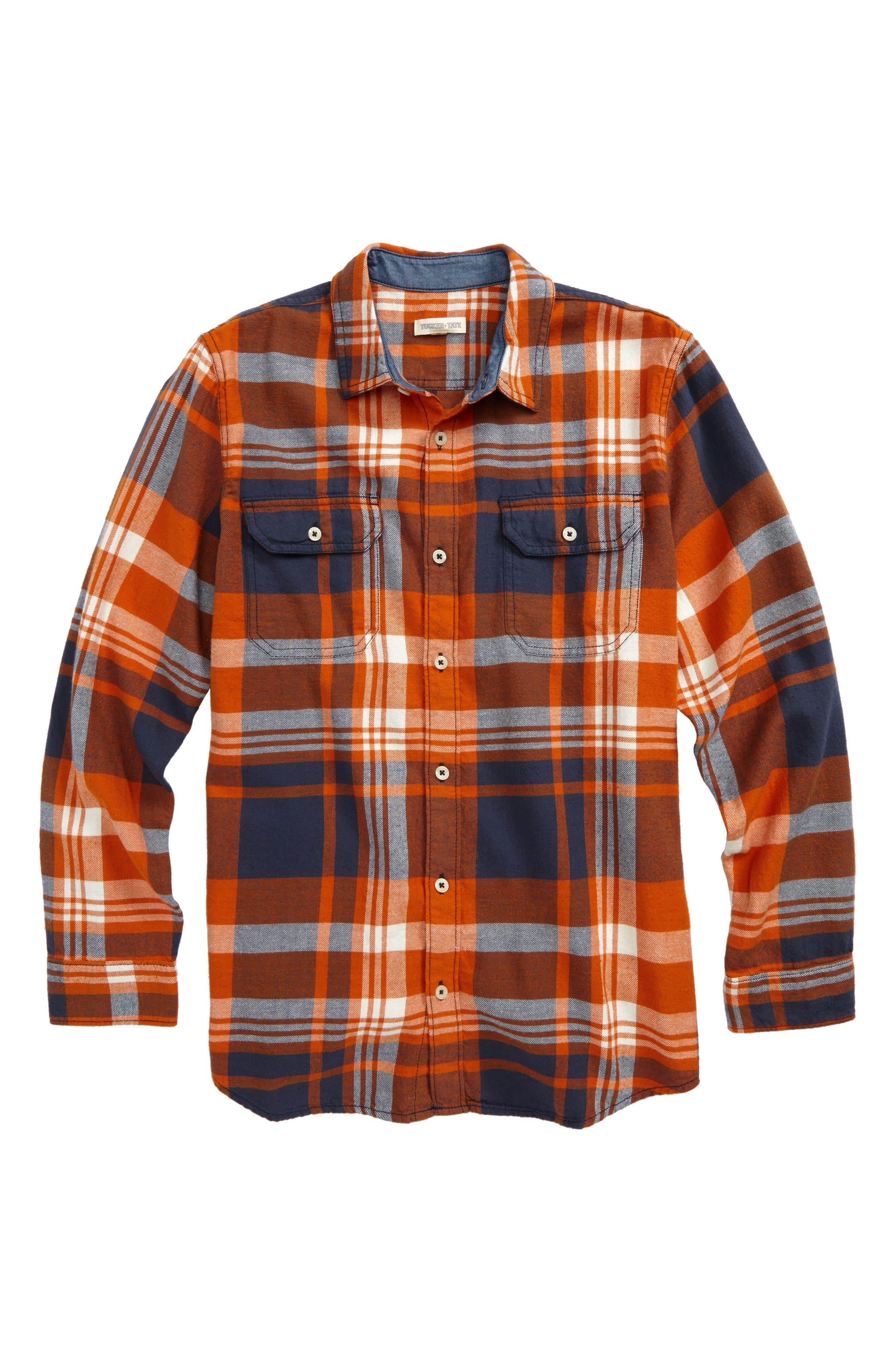 Long Sleeve Plaid Flannel Shirt,                         Main,                         color, Orange Hawaii- Navy Plaid