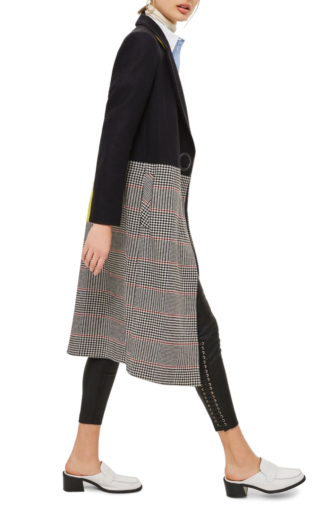 Colorblock Check Wool Blend Coat,                             Alternate thumbnail 3, color,                             Navy Blue Multi