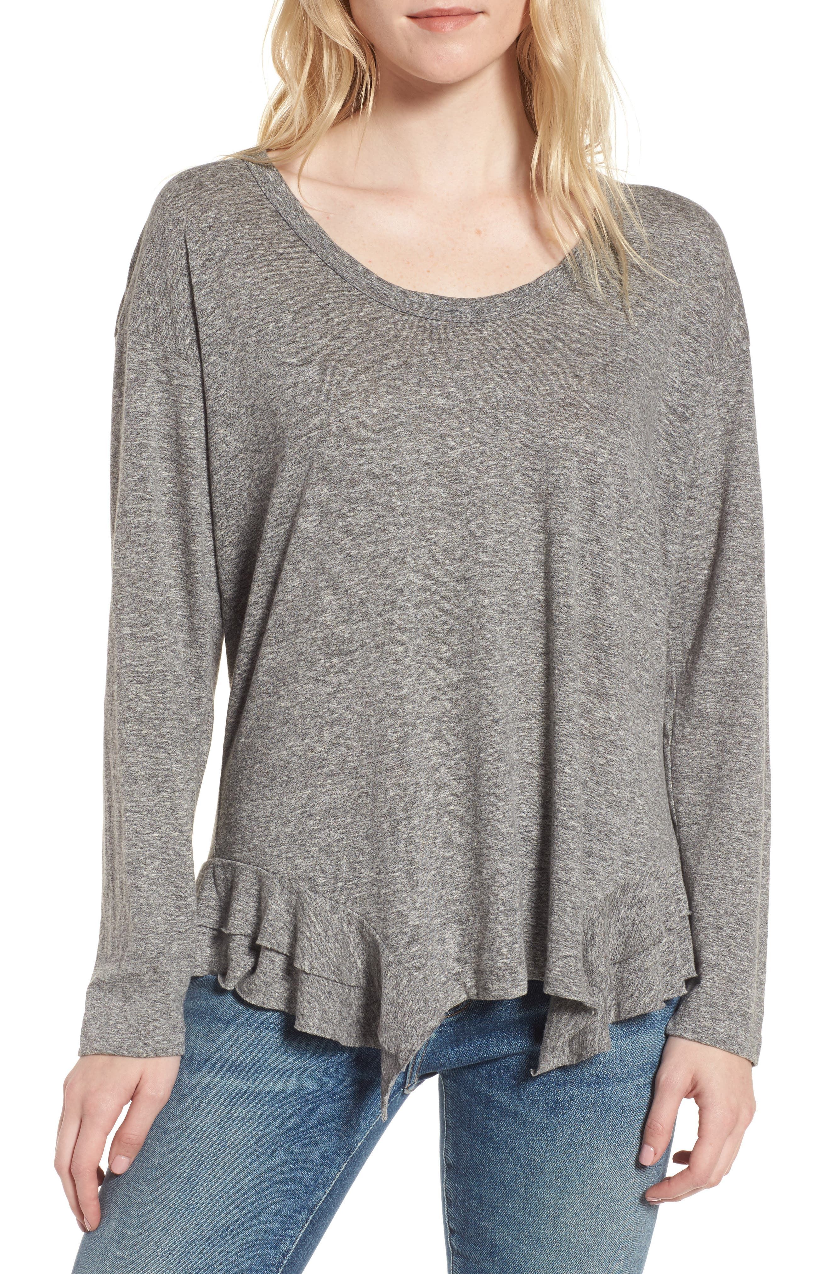The Tier Long Sleeve Tee,                         Main,                         color, Heather Grey Jersey