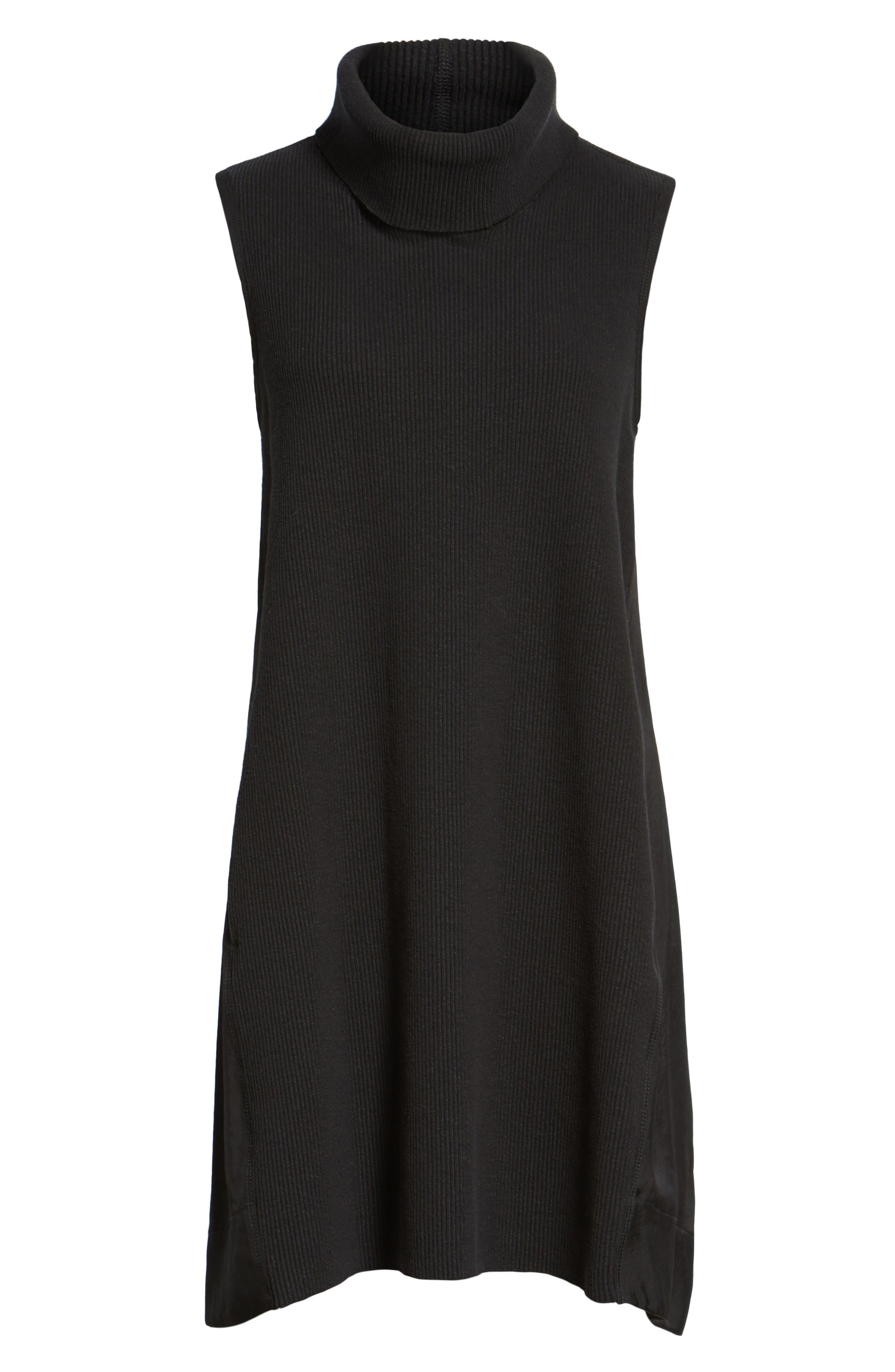 Mixed Media Turtleneck Shift Dress,                             Alternate thumbnail 6, color,                             Black