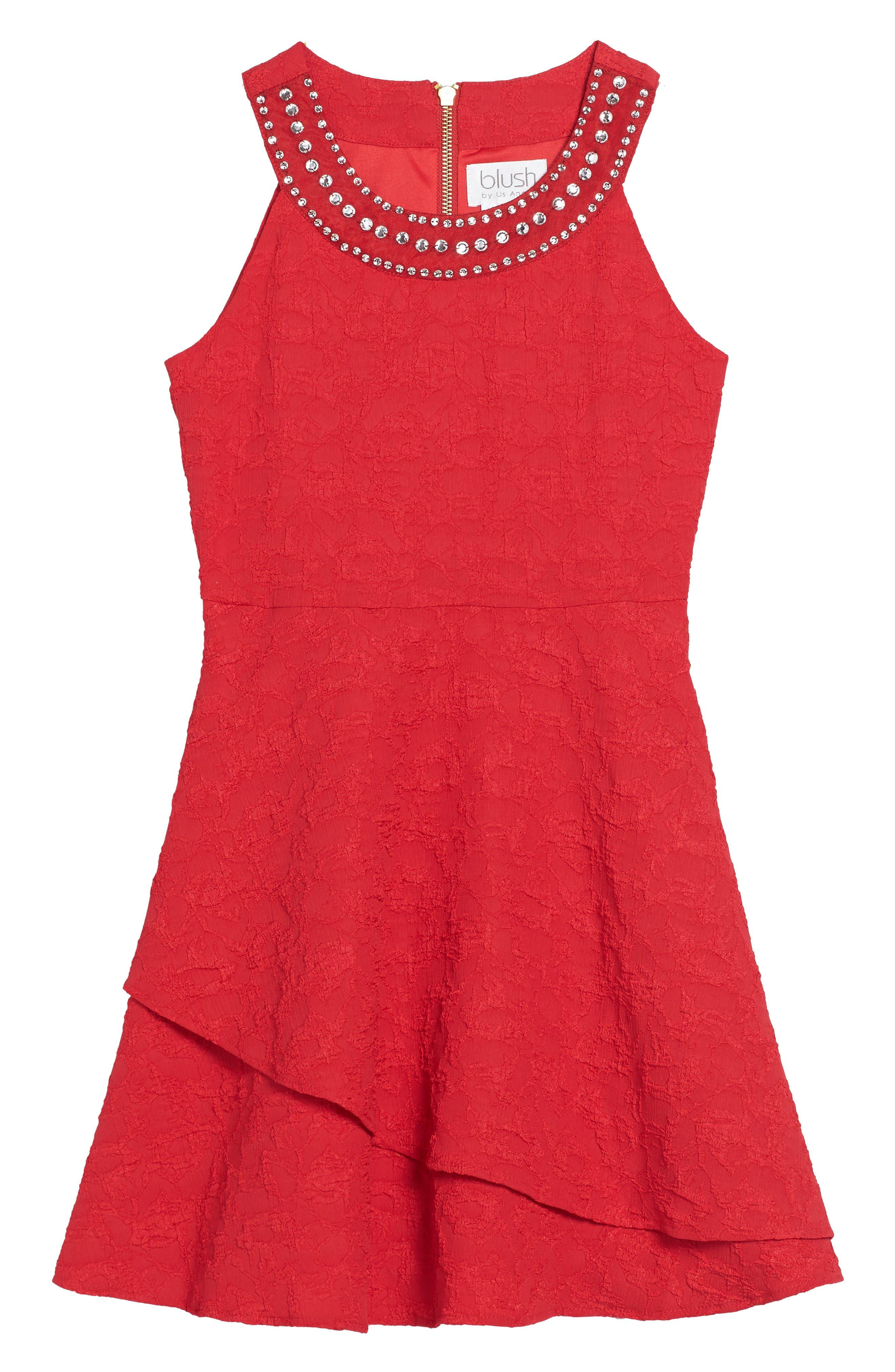 Main Image - BLUSH by Us Angels Jewel Neck Fit & Flare Dress (Big Girls)