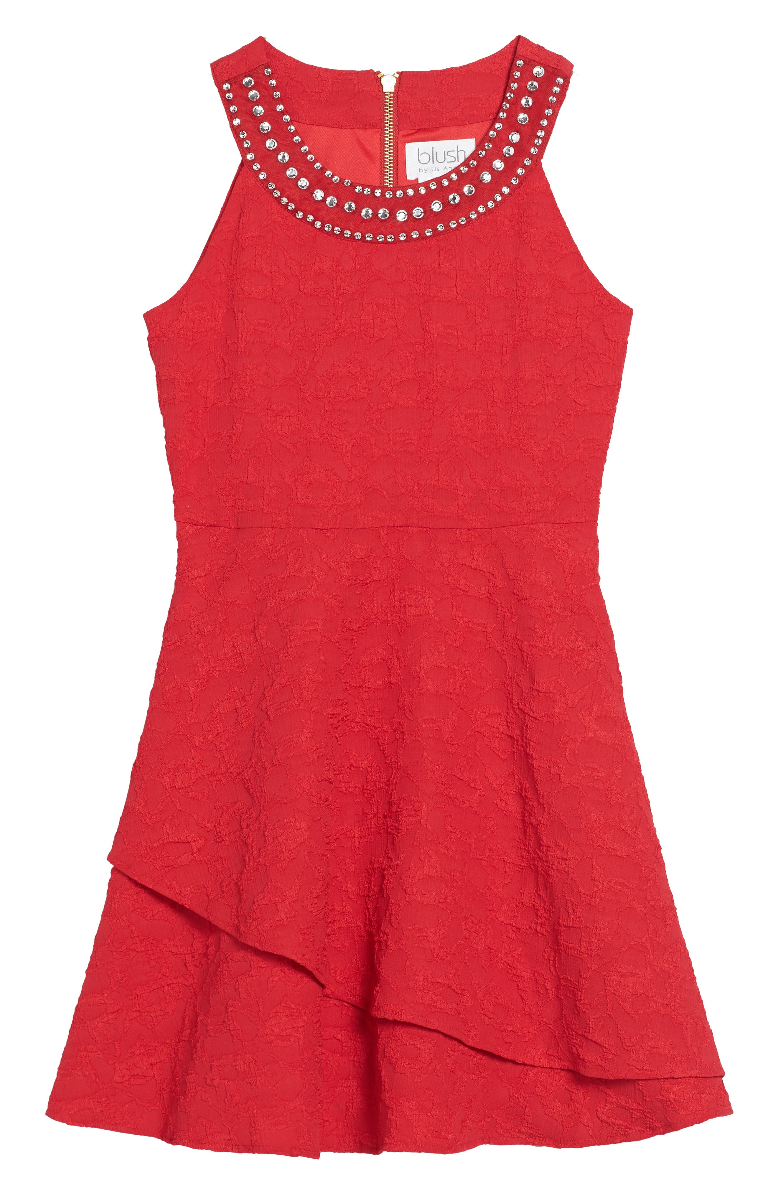 Jewel Neck Fit & Flare Dress,                         Main,                         color, Ruby