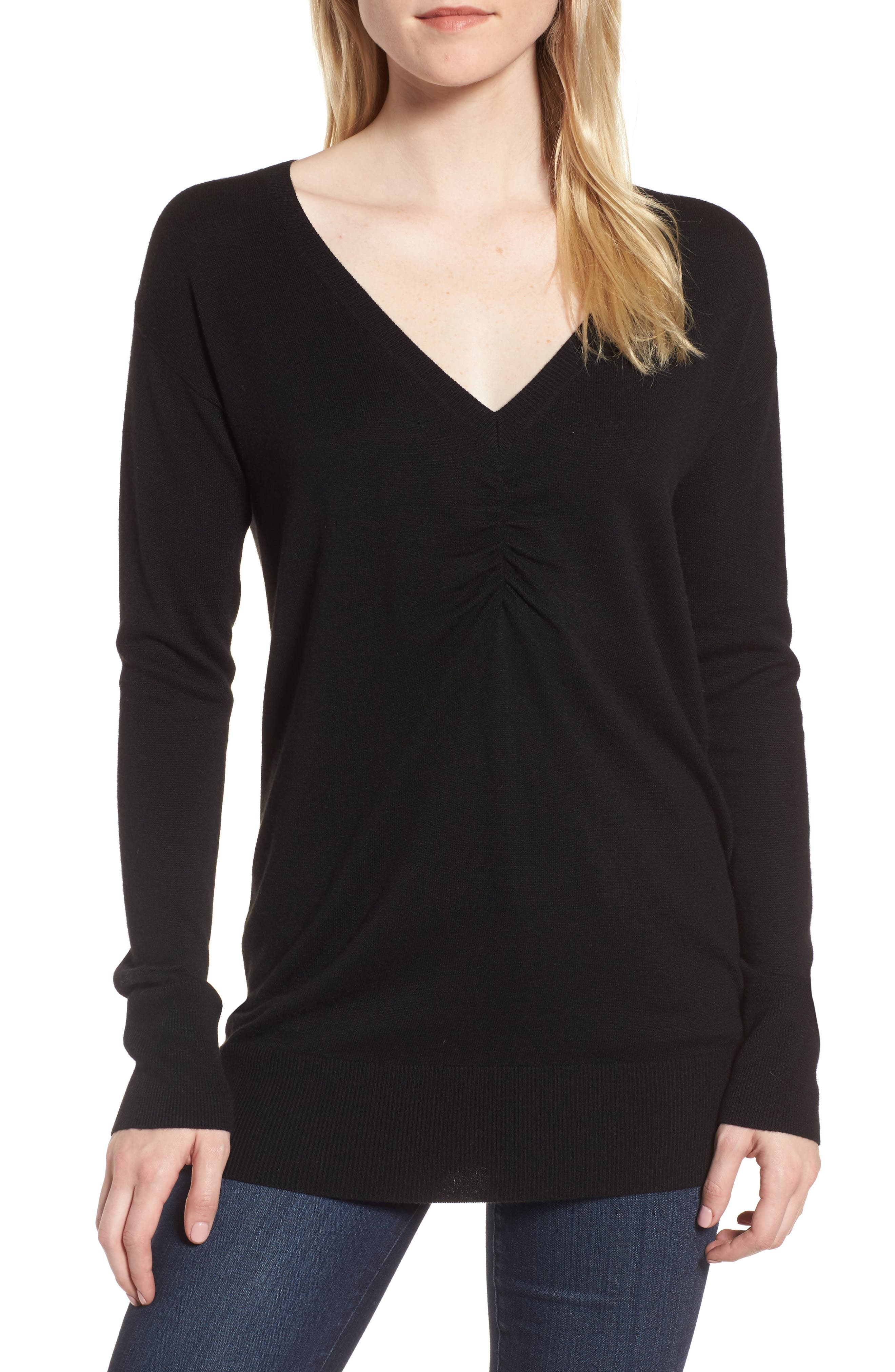 Ruched Sweater,                             Main thumbnail 1, color,                             Black
