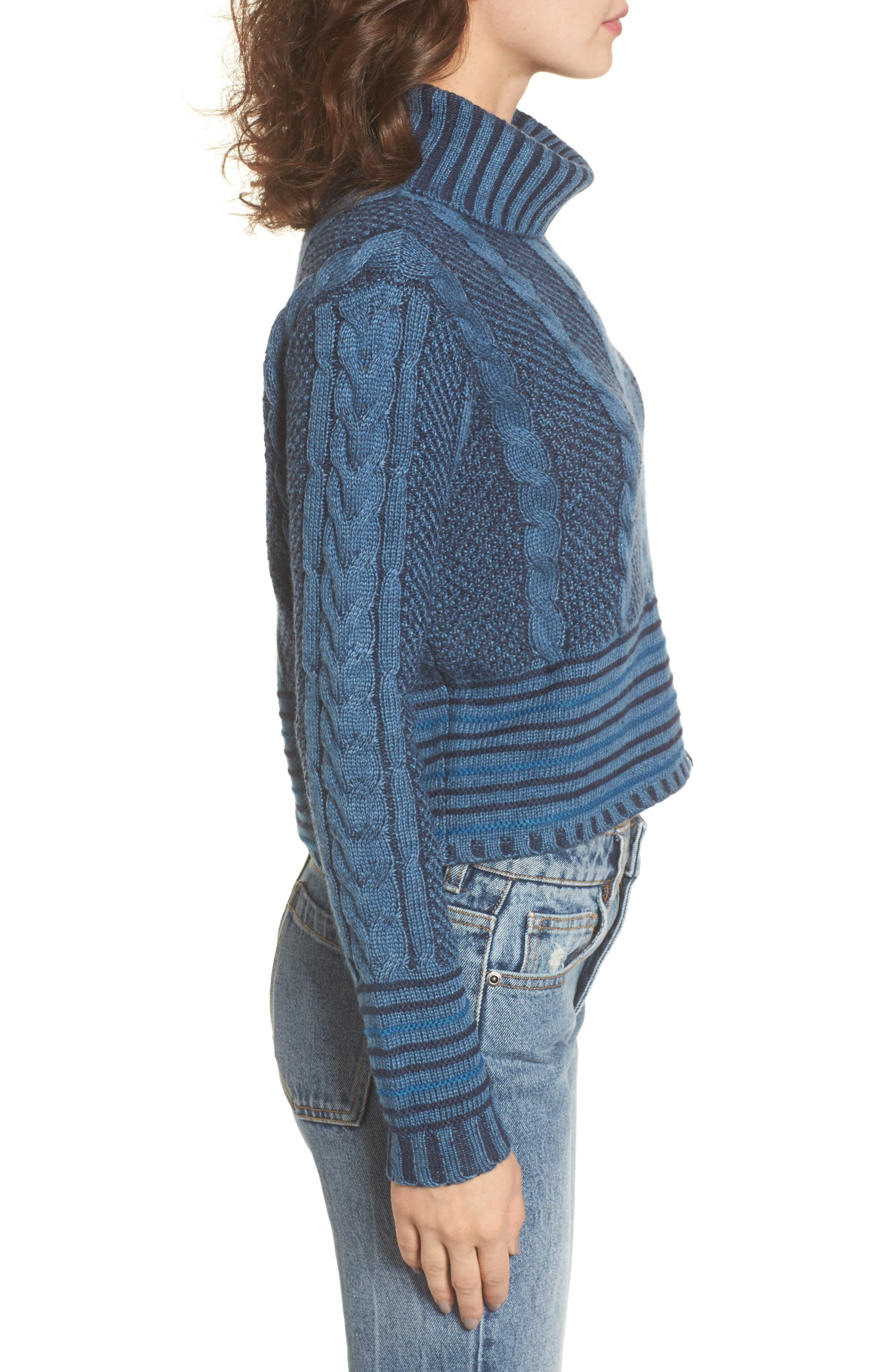 Mix Up Knit Sweater,                             Alternate thumbnail 3, color,                             Blue Heather