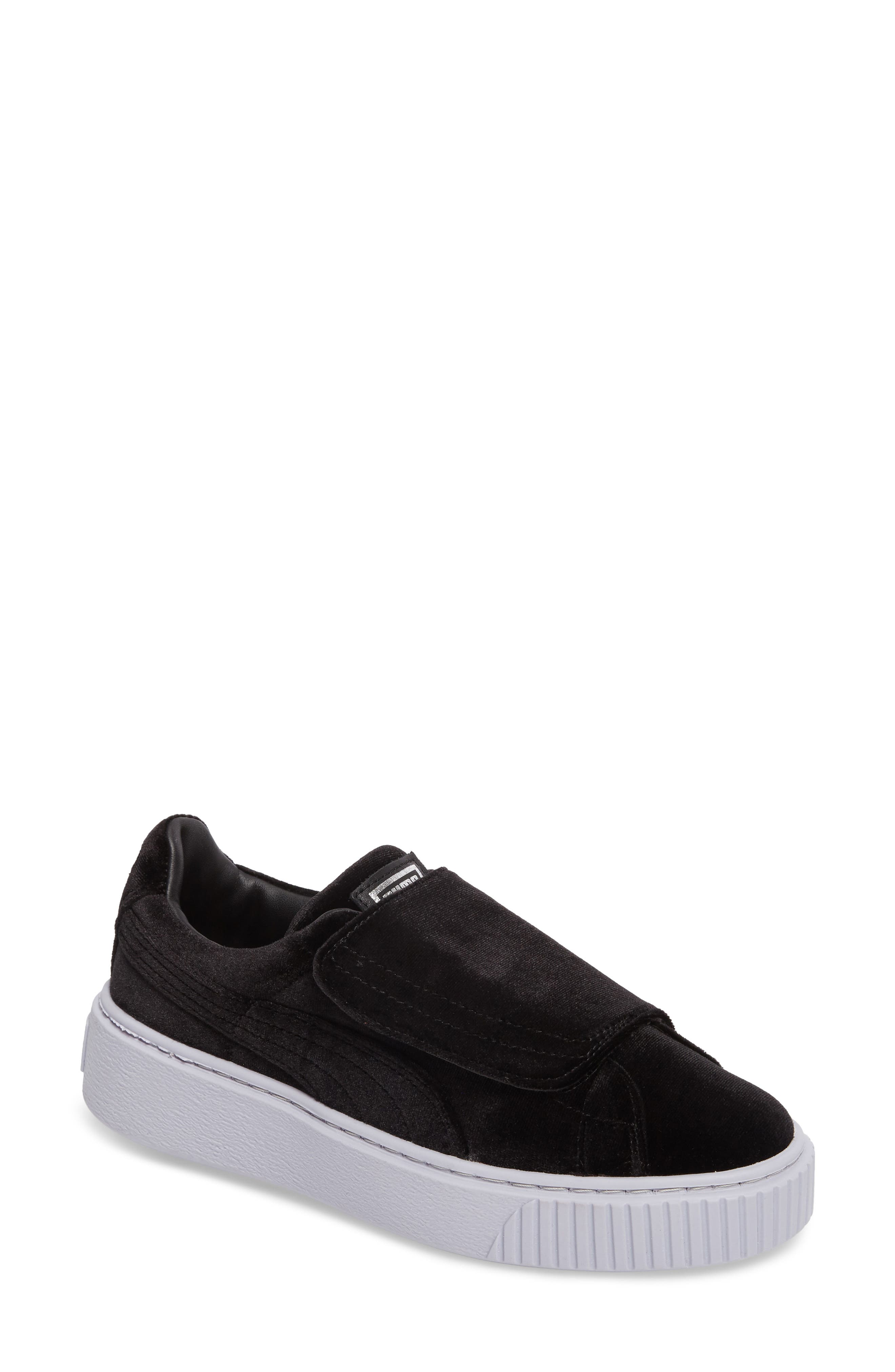 Basket Platform Sneaker,                             Main thumbnail 1, color,                             Black/ Black/ Icelandic Blue