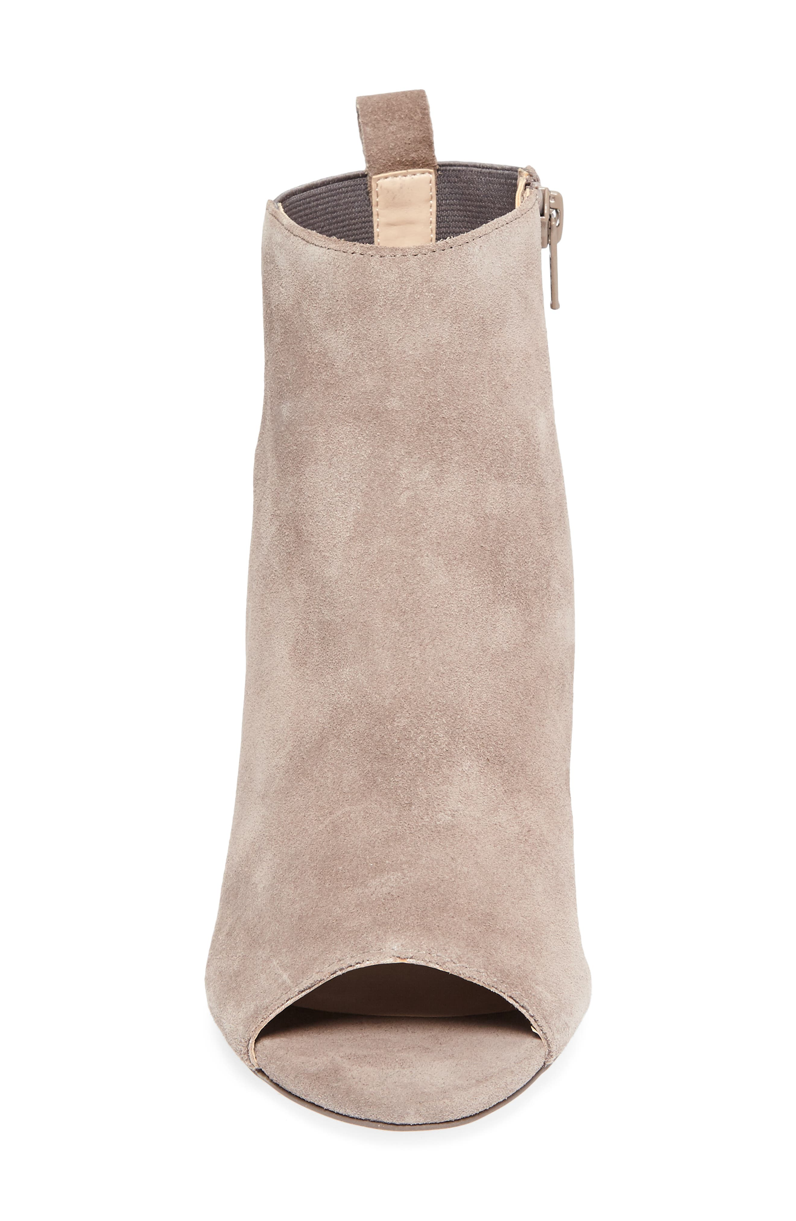Vita Peep Toe Bootie,                             Alternate thumbnail 4, color,                             Mushroom Suede
