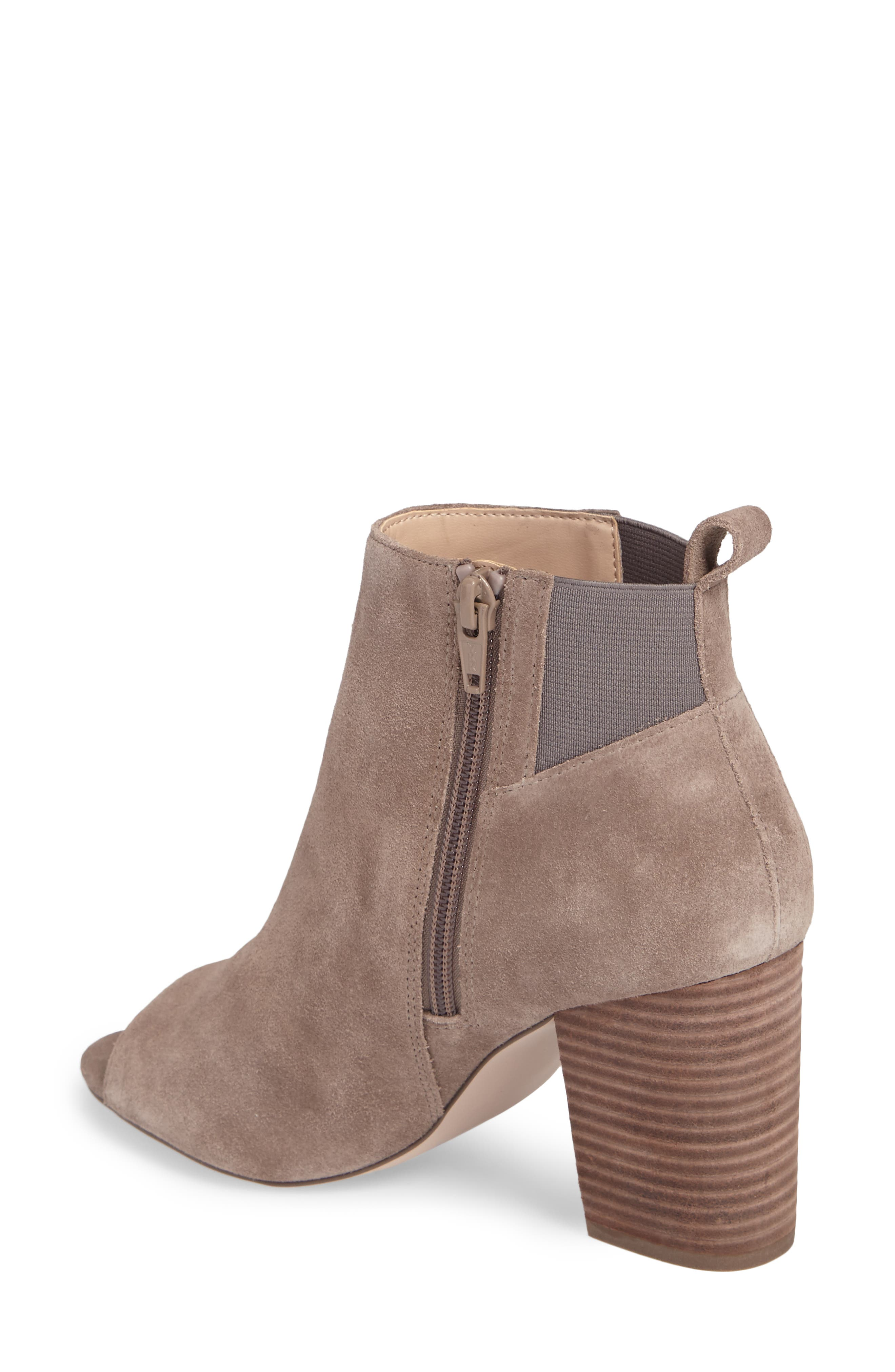 Vita Peep Toe Bootie,                             Alternate thumbnail 2, color,                             Mushroom Suede