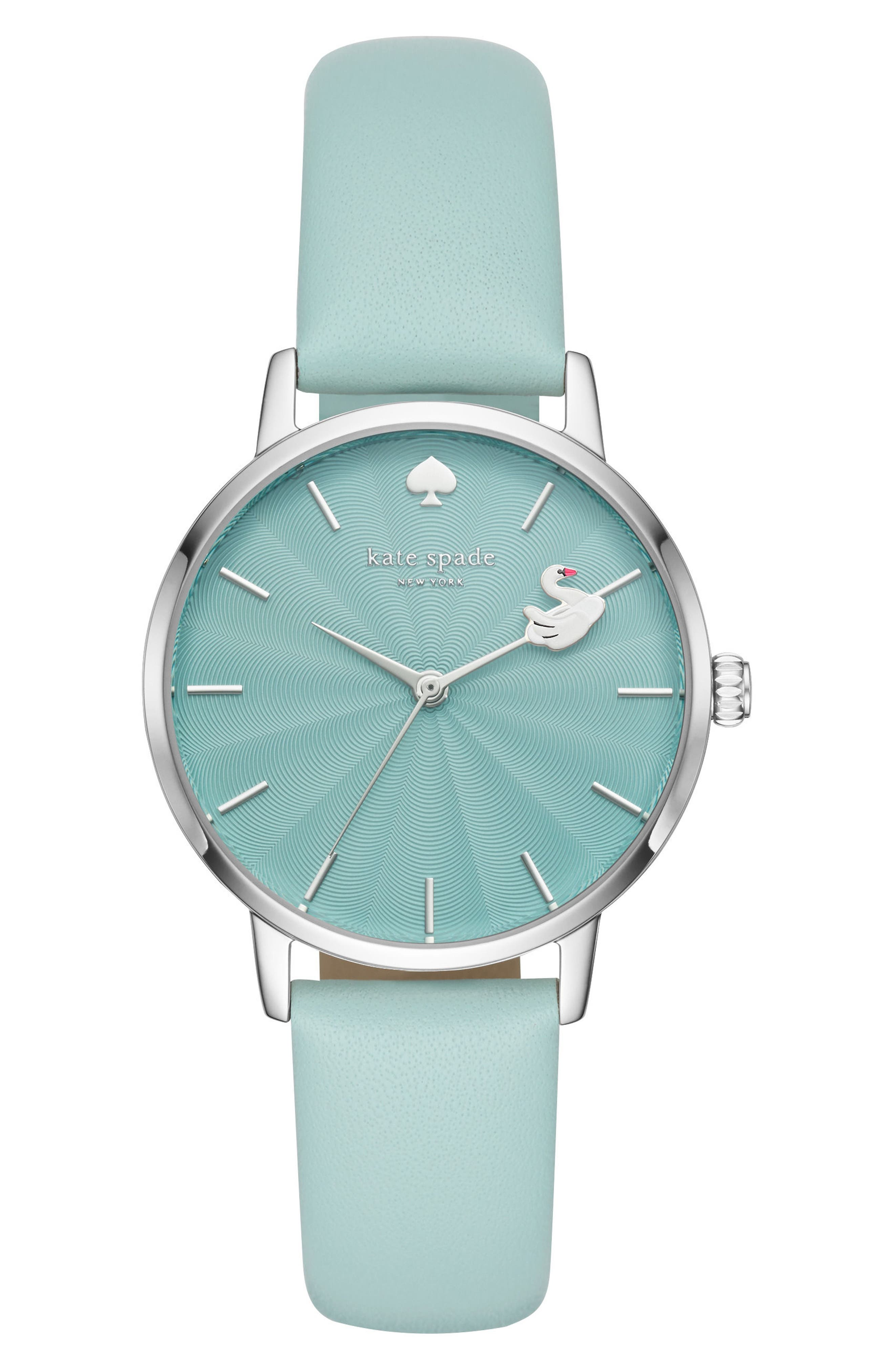 metro swan leather strap watch, 34mm,                             Main thumbnail 1, color,                             Blue