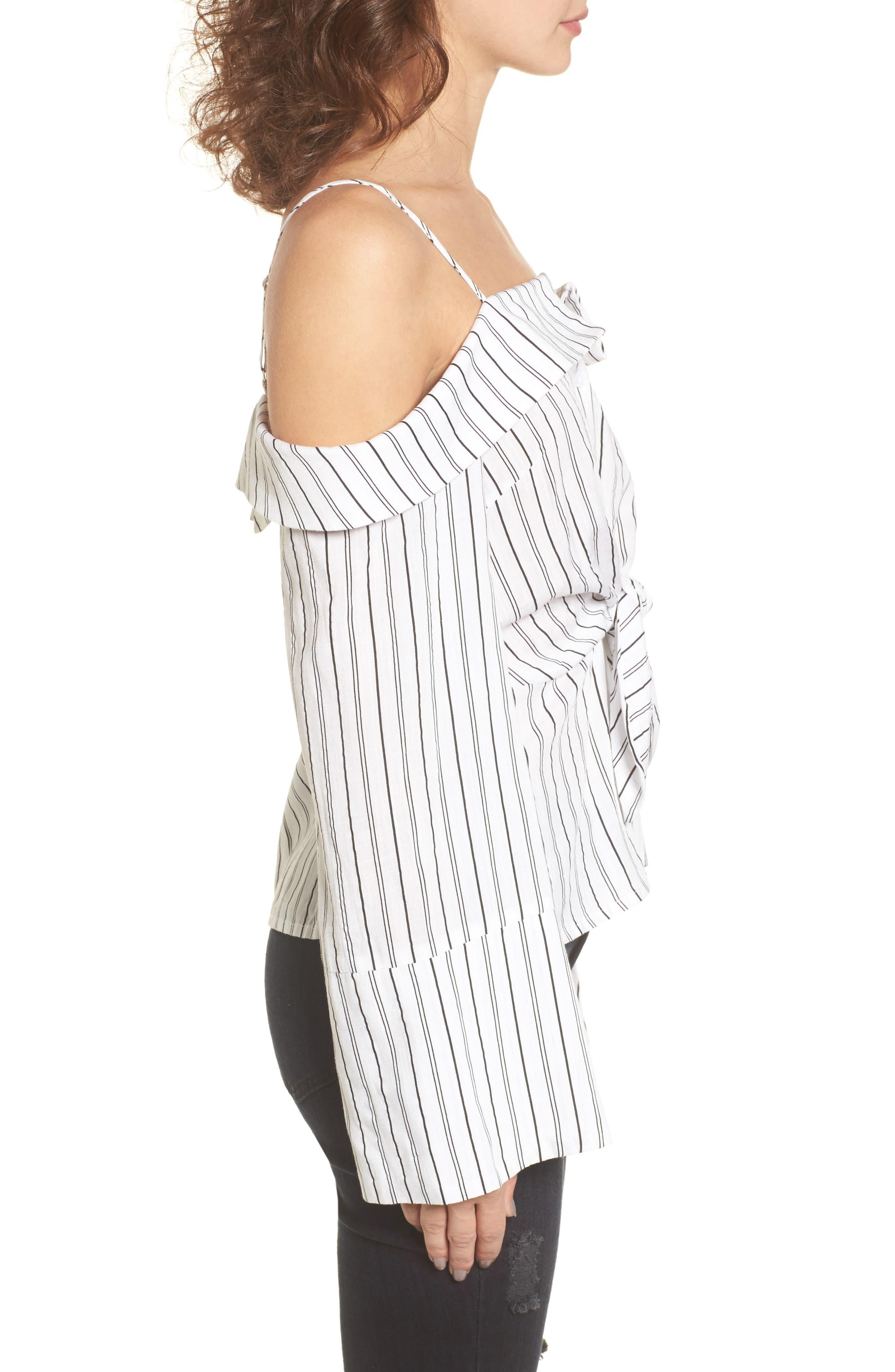 Alternate Image 3  - Stripe Tie Waist Off the Shoulder Shirt