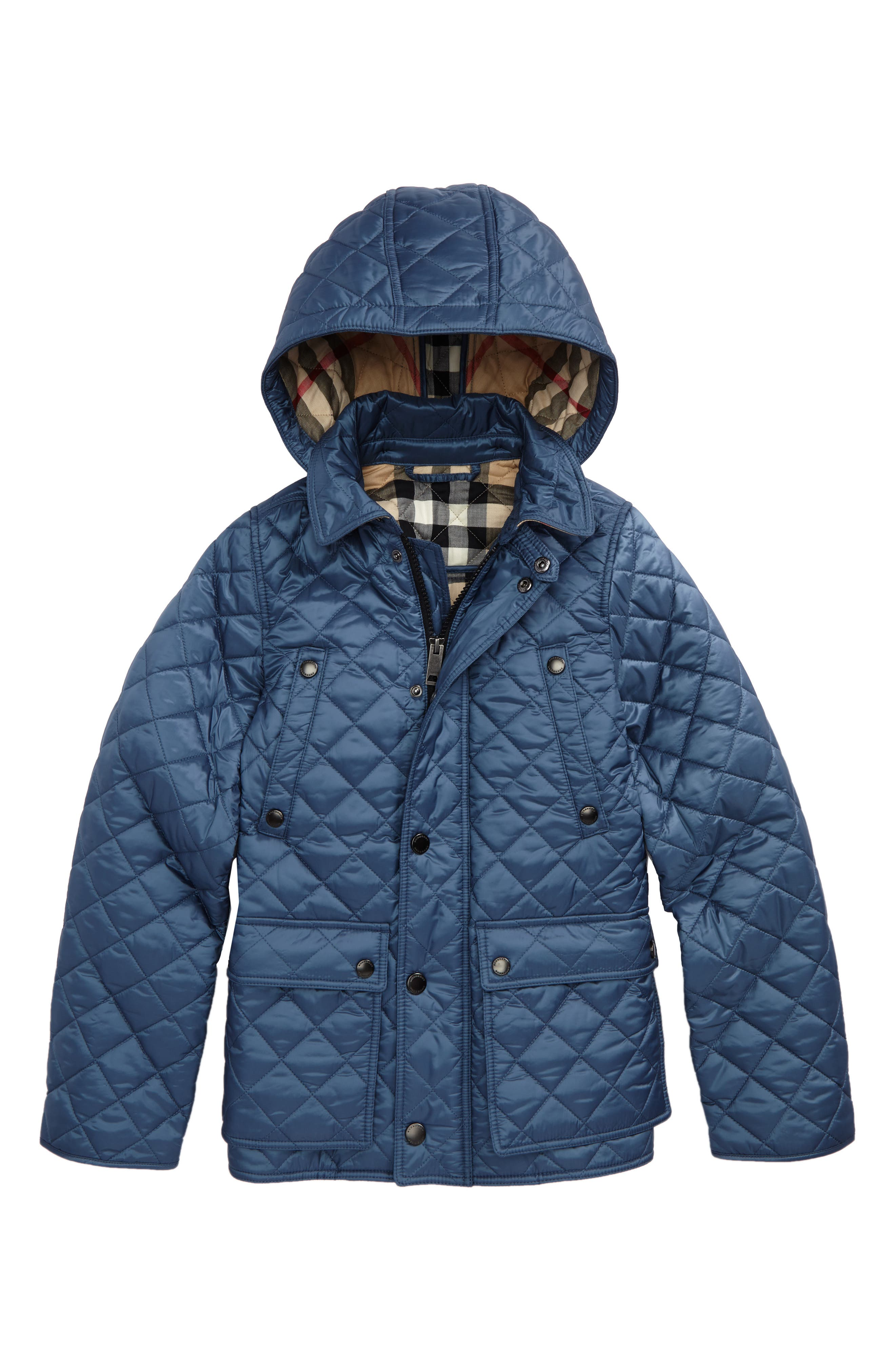 Charlie Quilted Hooded Jacket,                         Main,                         color, Mineral Blue