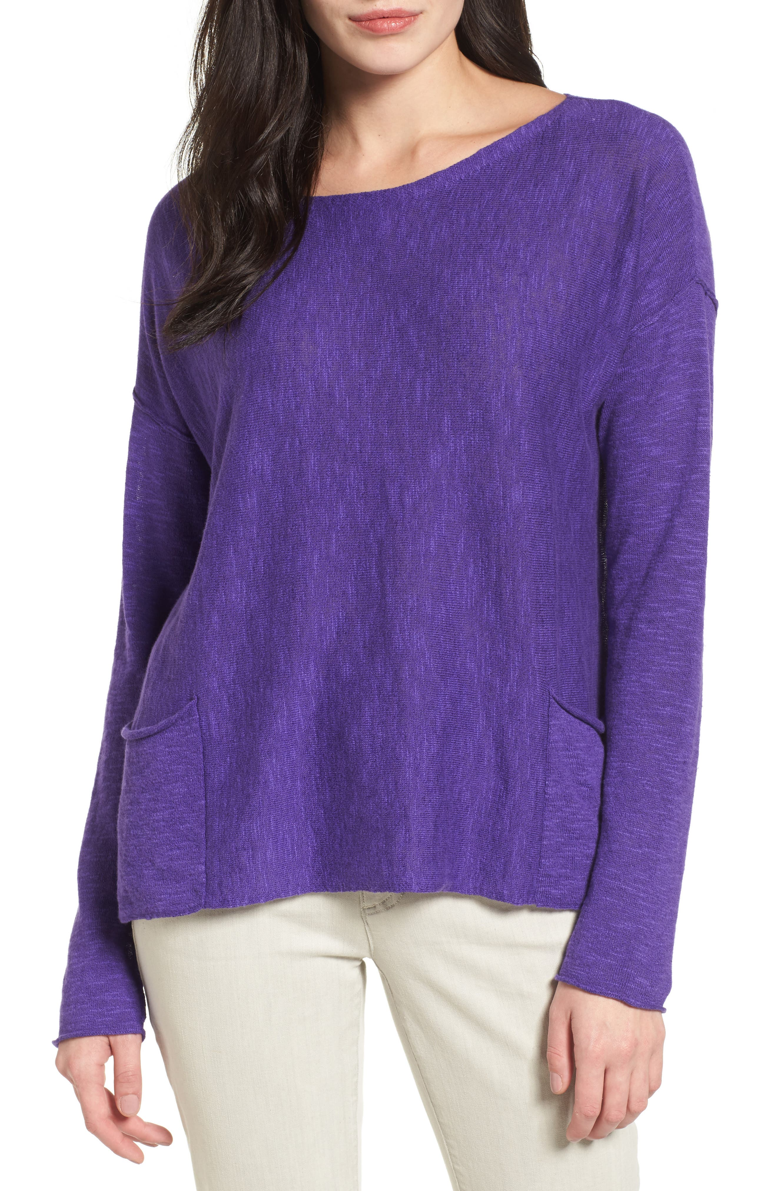 Main Image - Eileen Fisher Organic Linen & Cotton Knit Boxy Top (Regular & Petite)